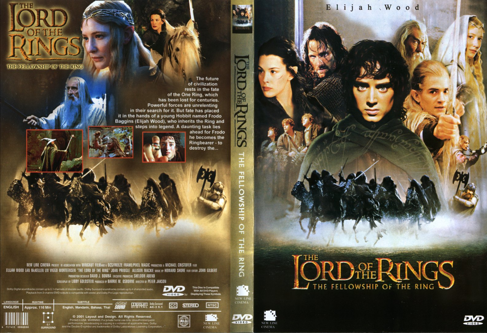 Covers Box Sk Lord Of The Rings The Fellowship Of The Ring The 2001 High Quality Dvd Blueray Movie