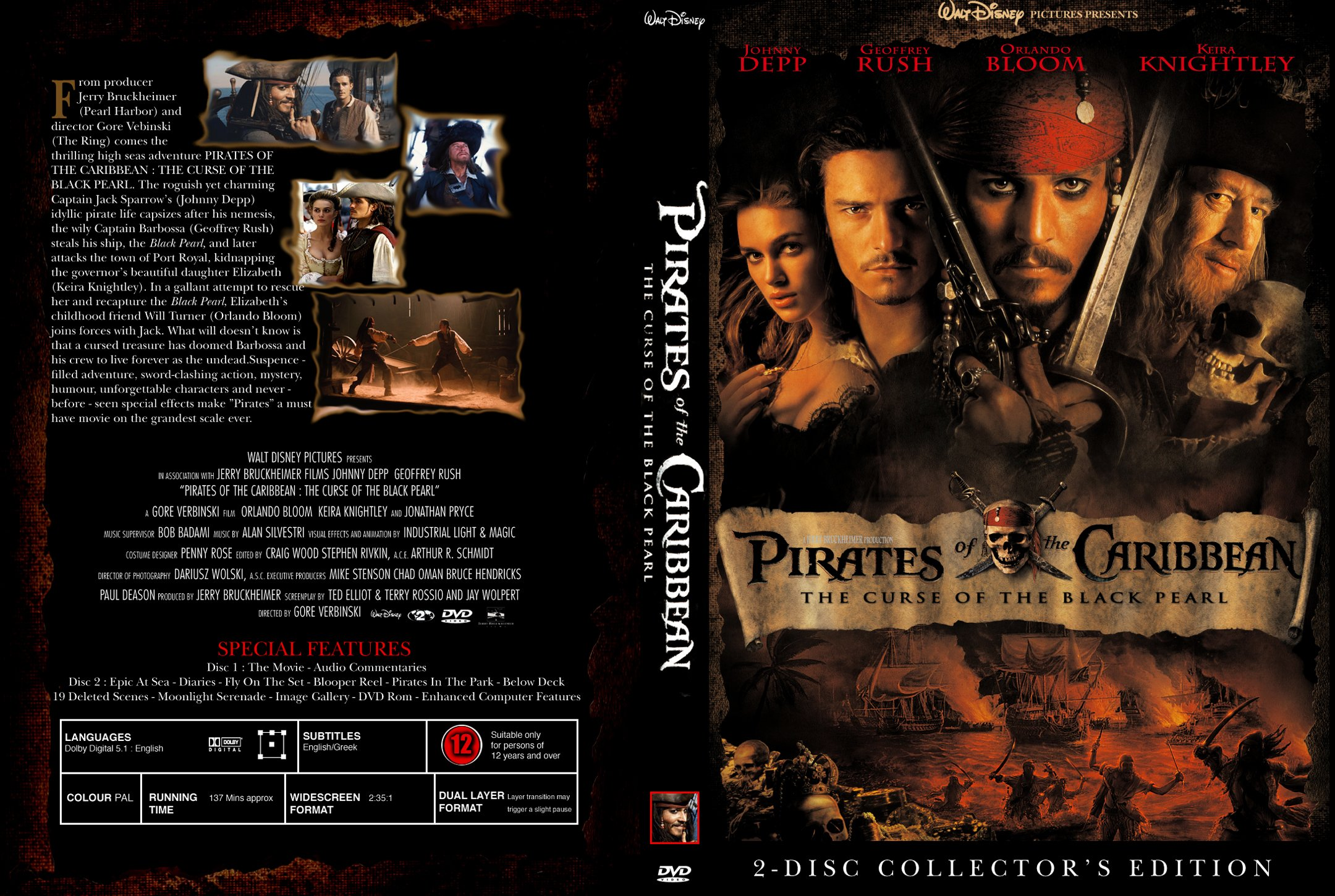 Covers Box Sk Pirates Of The Caribbean The Curse Of The Black Pearl 2003 High Quality Dvd Blueray Movie