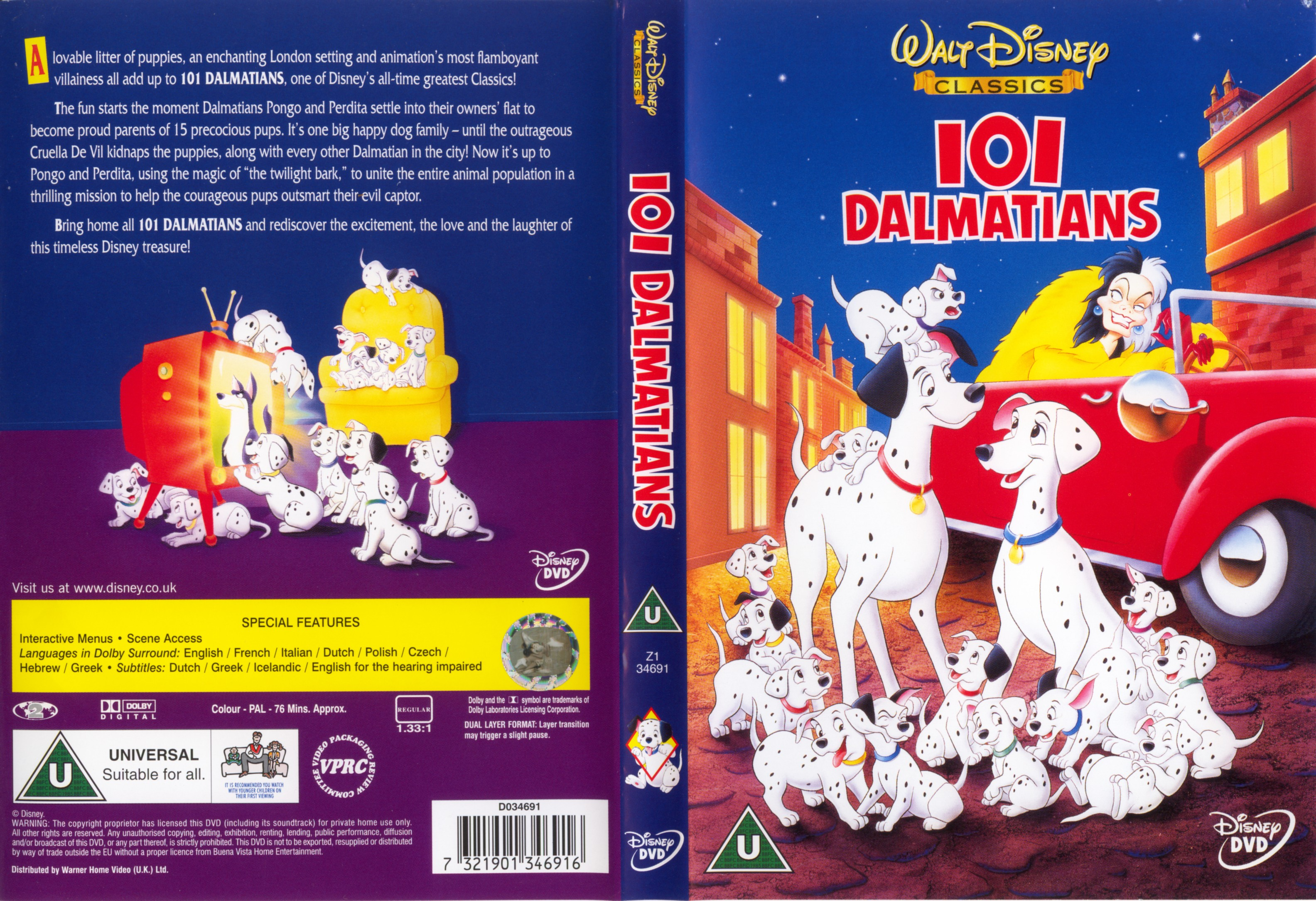 Covers Box Sk One Hundred And One Dalmatians 1961 High Quality Dvd Blueray Movie