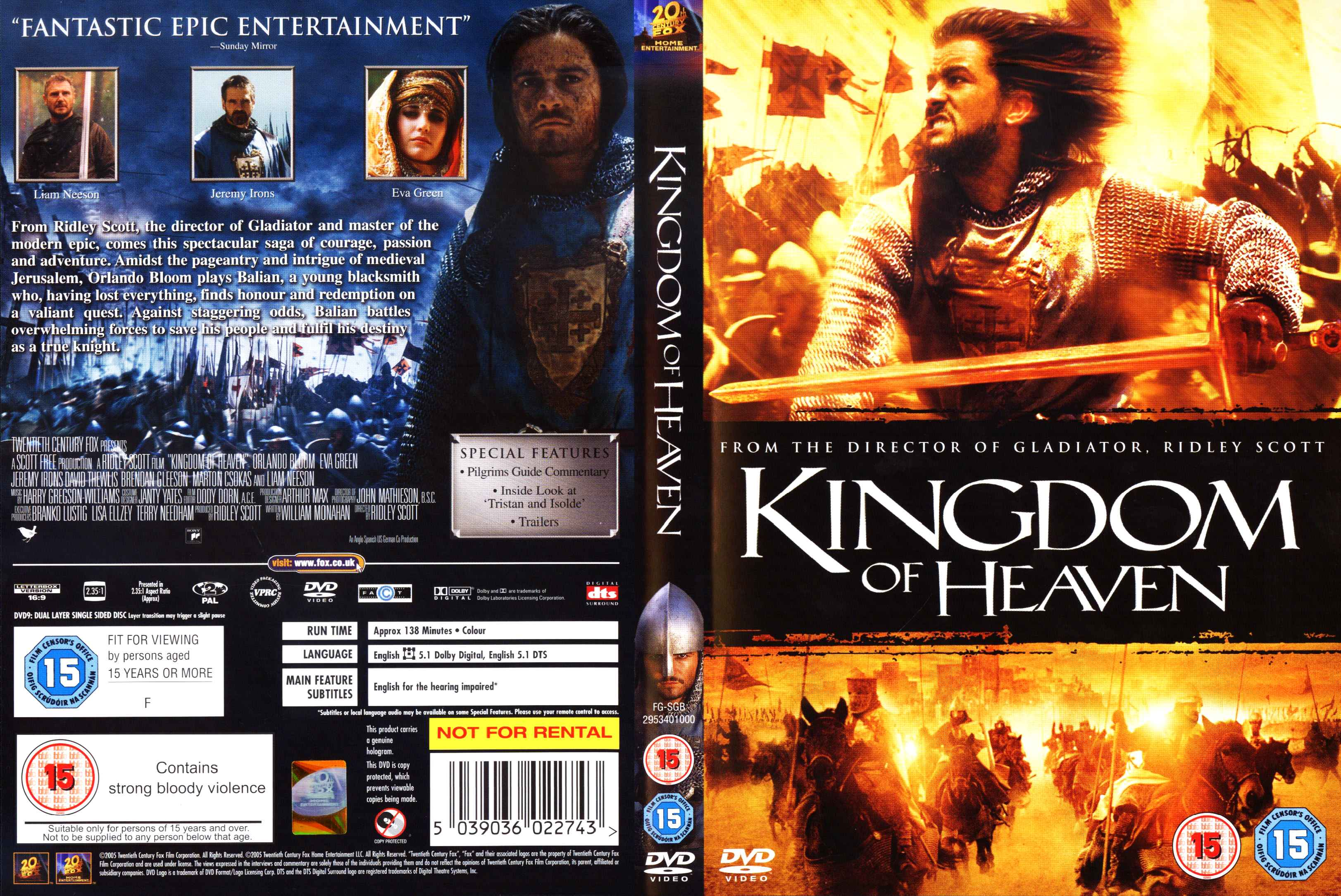 This is an image of Enterprising Kingdom of Heaven Dvd Label