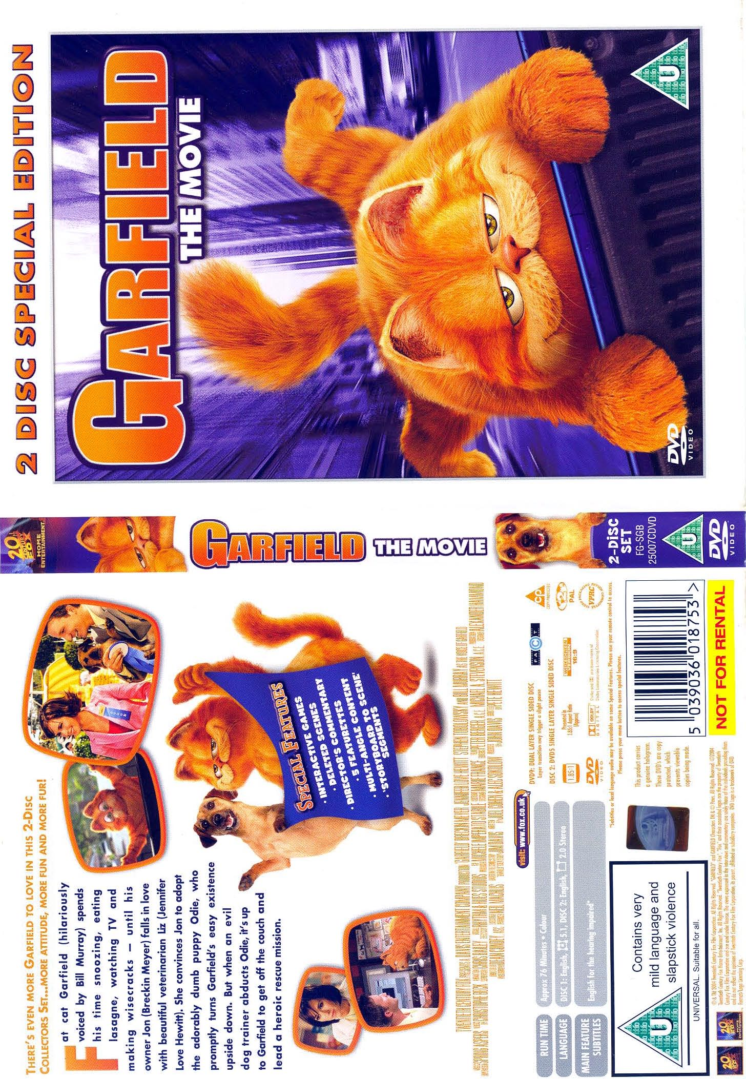 Covers Box Sk Garfield The Movie 2 Disc Special Edition High Quality Dvd Blueray Movie
