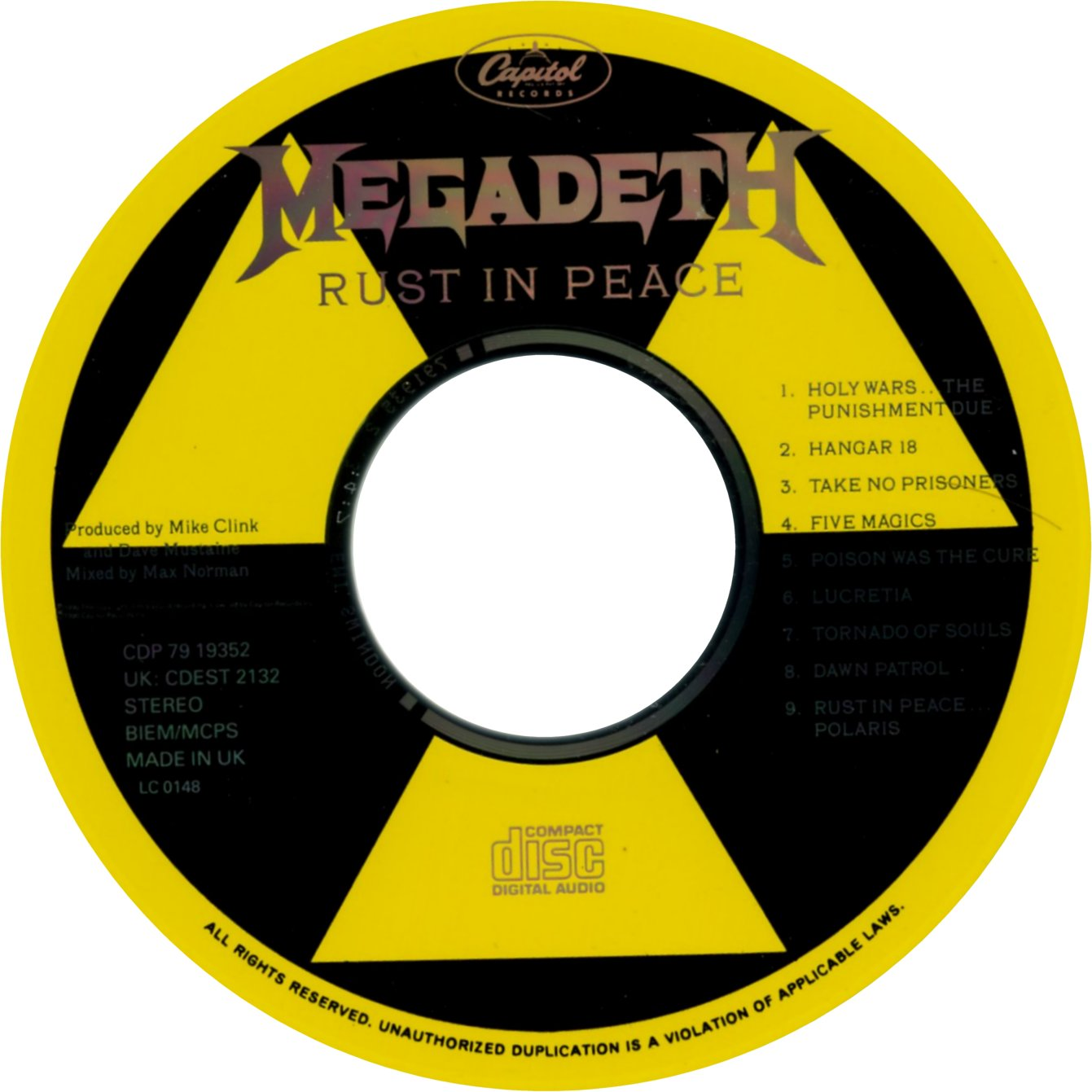 Megadeth Rust In Peace Cd Cover has been resized