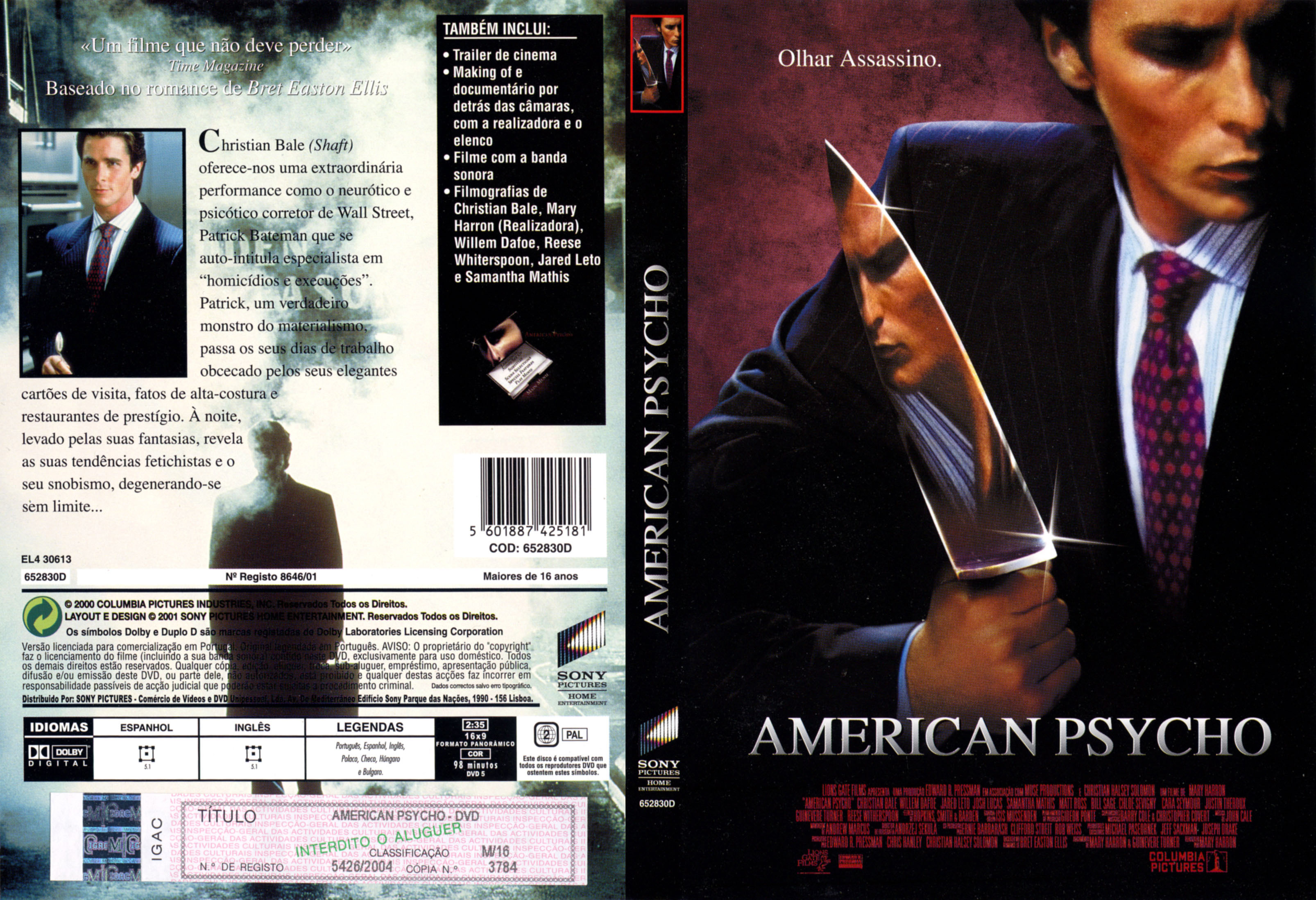 Covers Box Sk American Psycho 2000 High Quality Dvd