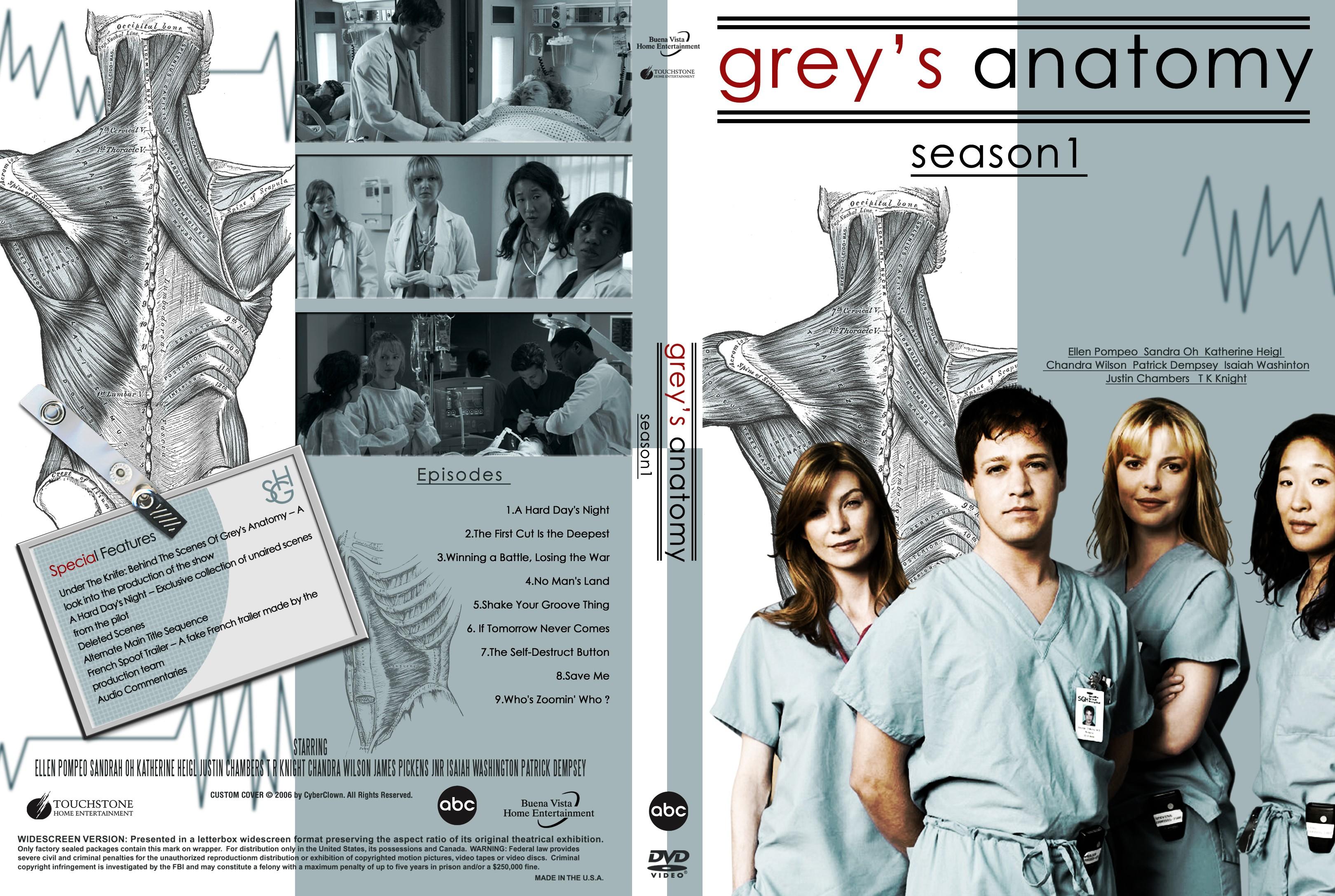 COVERS.BOX.SK ::: Greys Anatomy Season 1 - high quality DVD ...