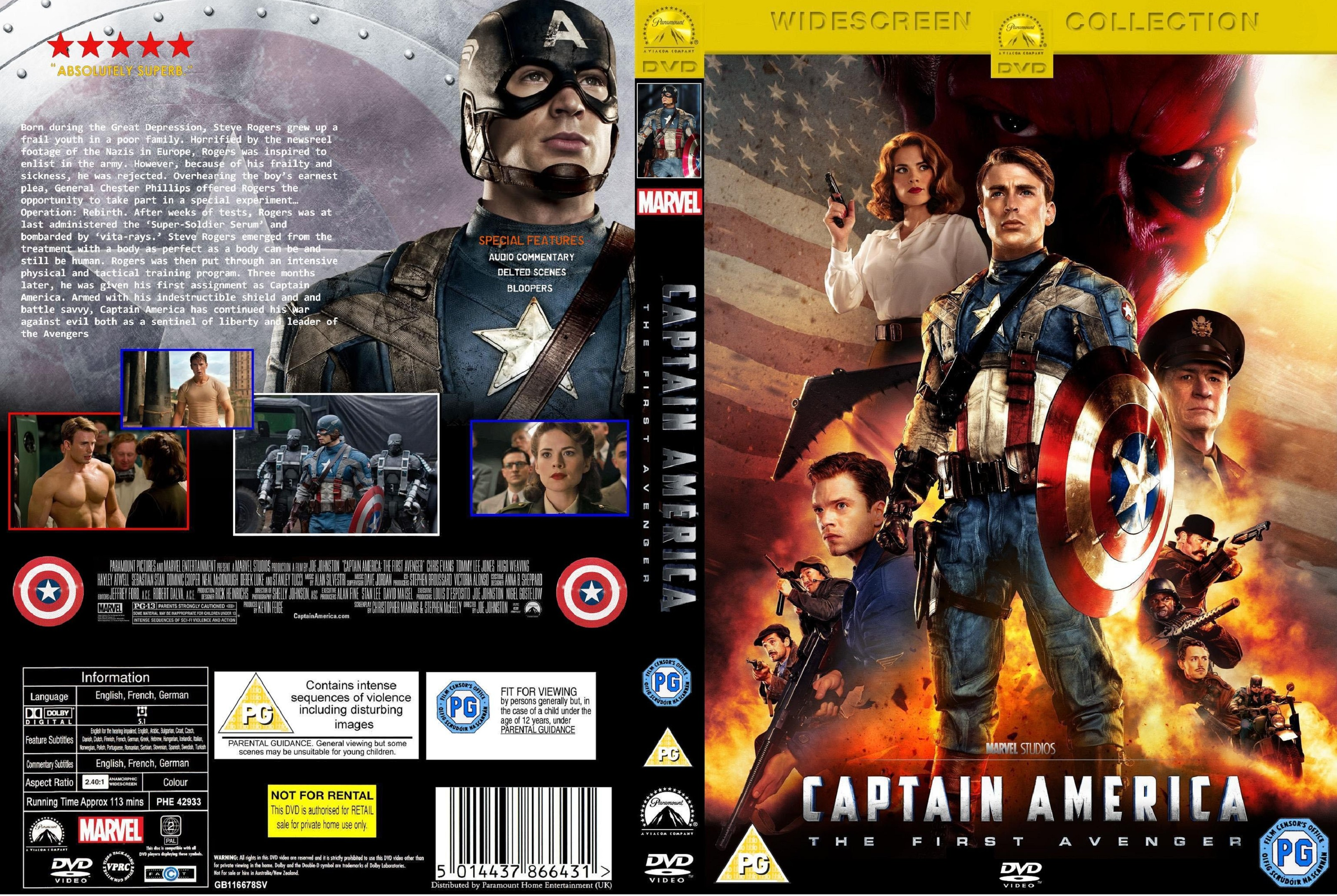 Covers Box Sk Captain America The First Avenger 2011 High Quality Dvd Blueray Movie