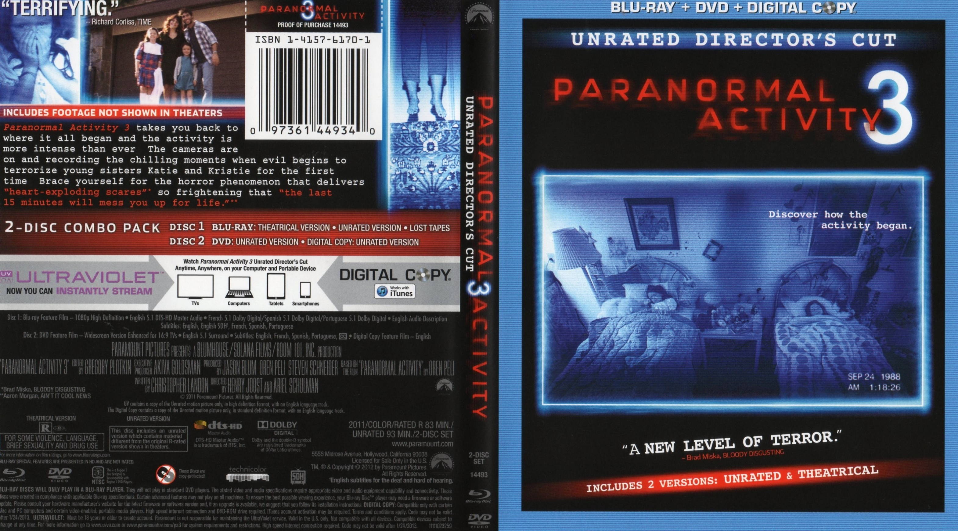 Covers Box Sk Paranormal Activity 3 2011 High Quality Dvd Blueray Movie