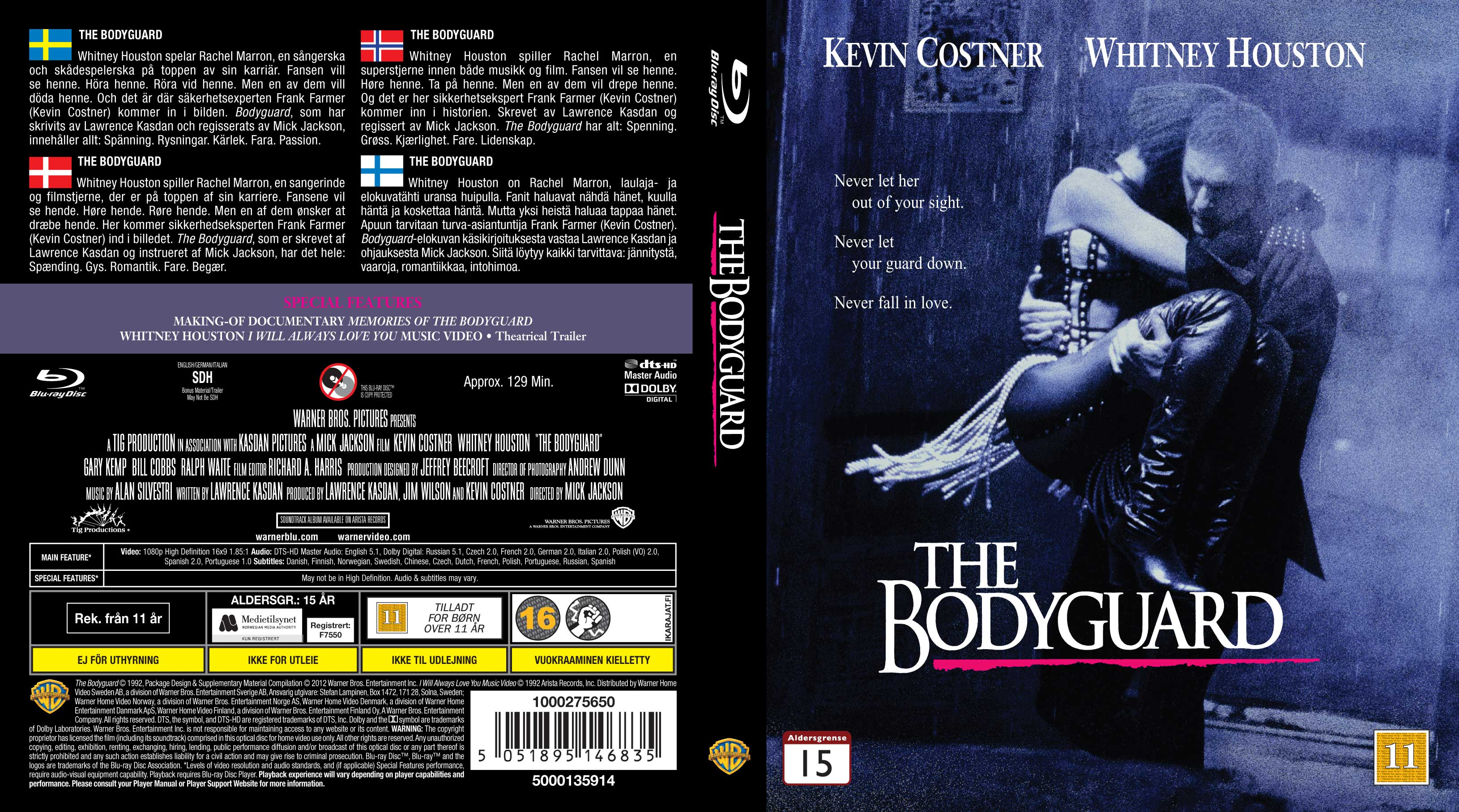 Covers Box Sk The Bodyguard 1992 Nordic High Quality Dvd Blueray Movie