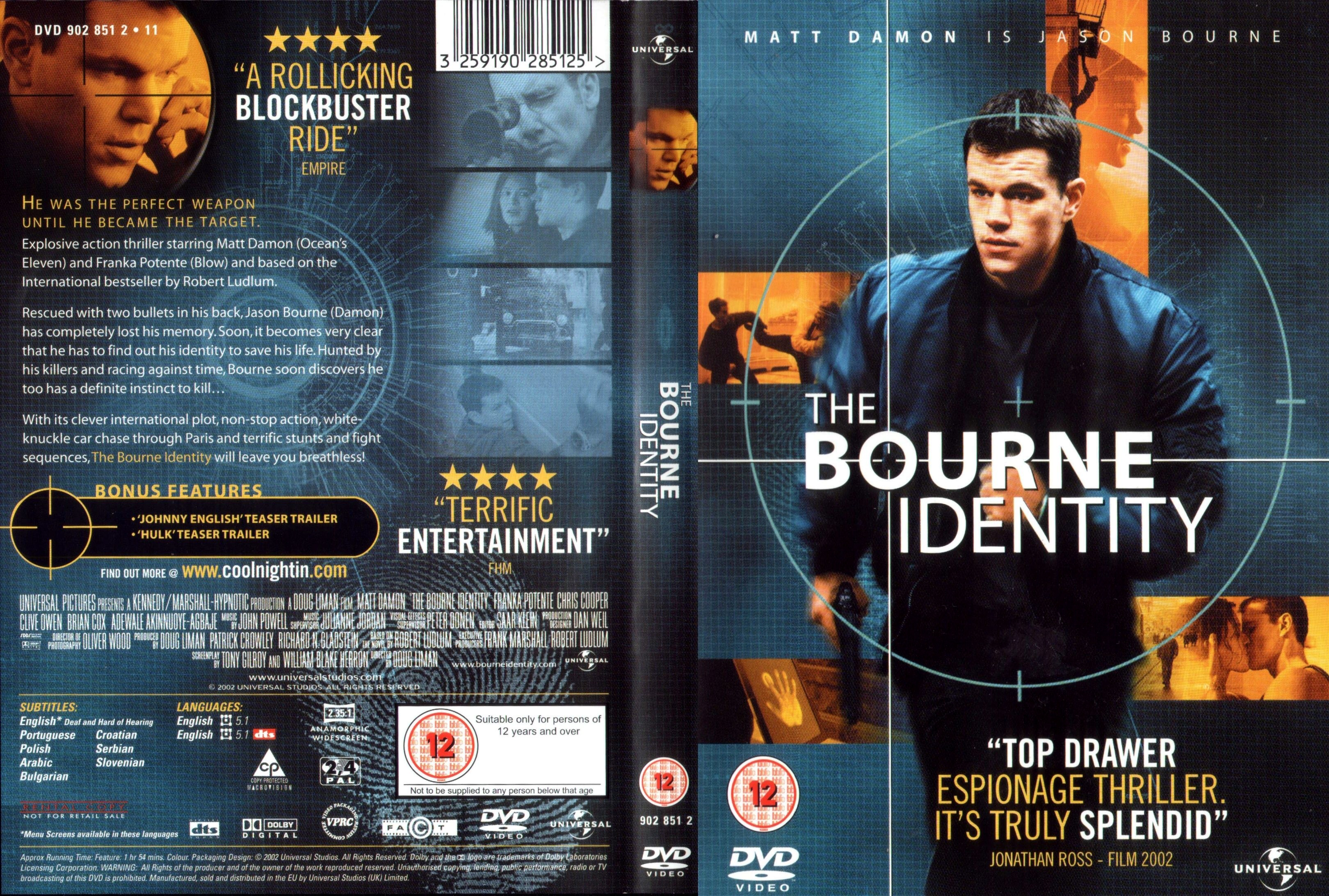Covers Box Sk The Bourne Identity 2002 High Quality Dvd Blueray Movie