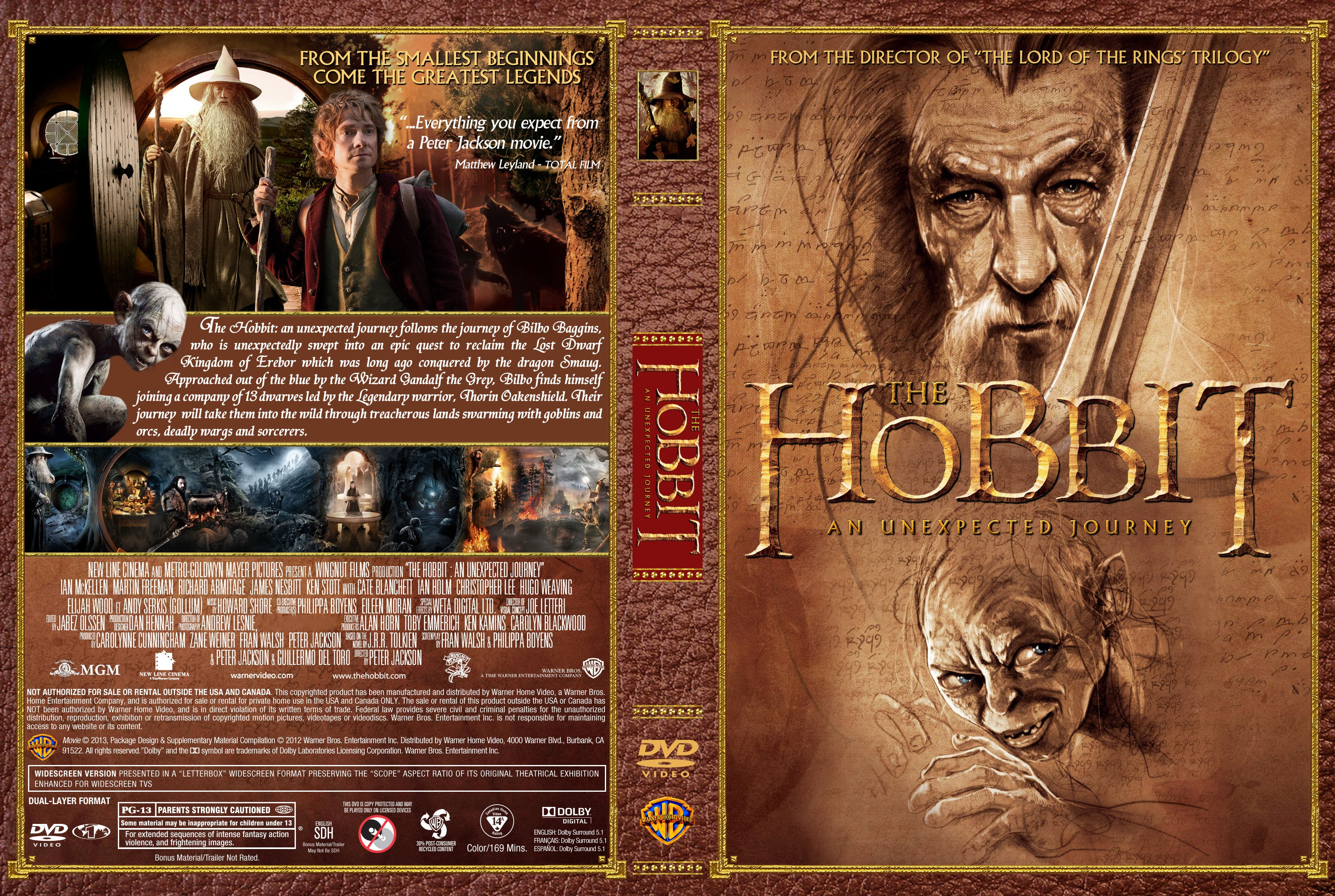 the hobbit  an unexpected journey  2012  - front backThe Hobbit An Unexpected Journey Dvd