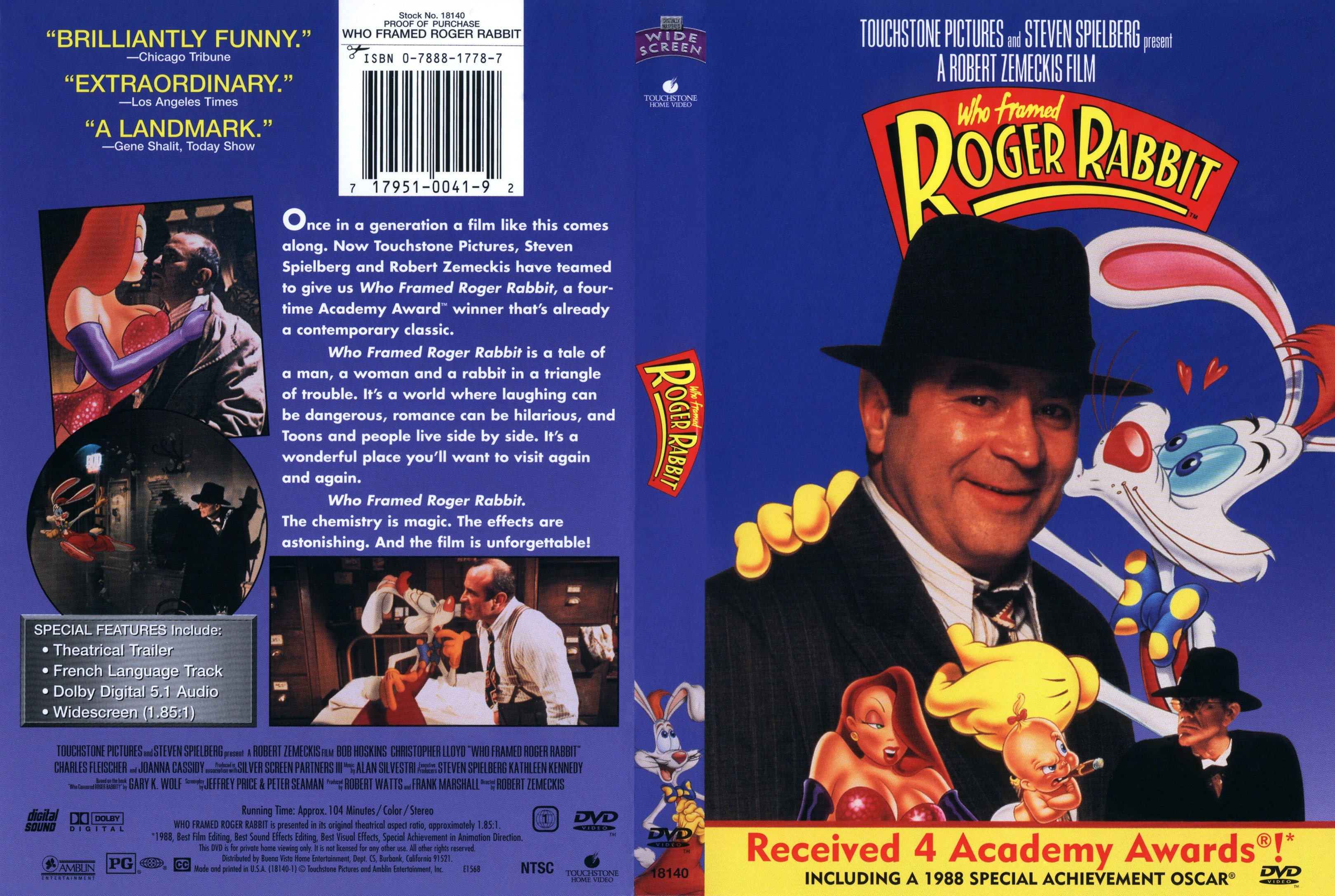 pics photos who framed roger rabbit vhs back cover