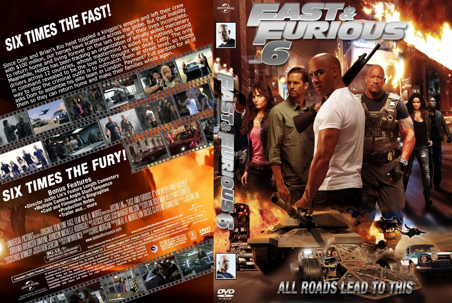 Covers Box Sk Fast Furious 6 2013 High Quality Dvd Blueray Movie