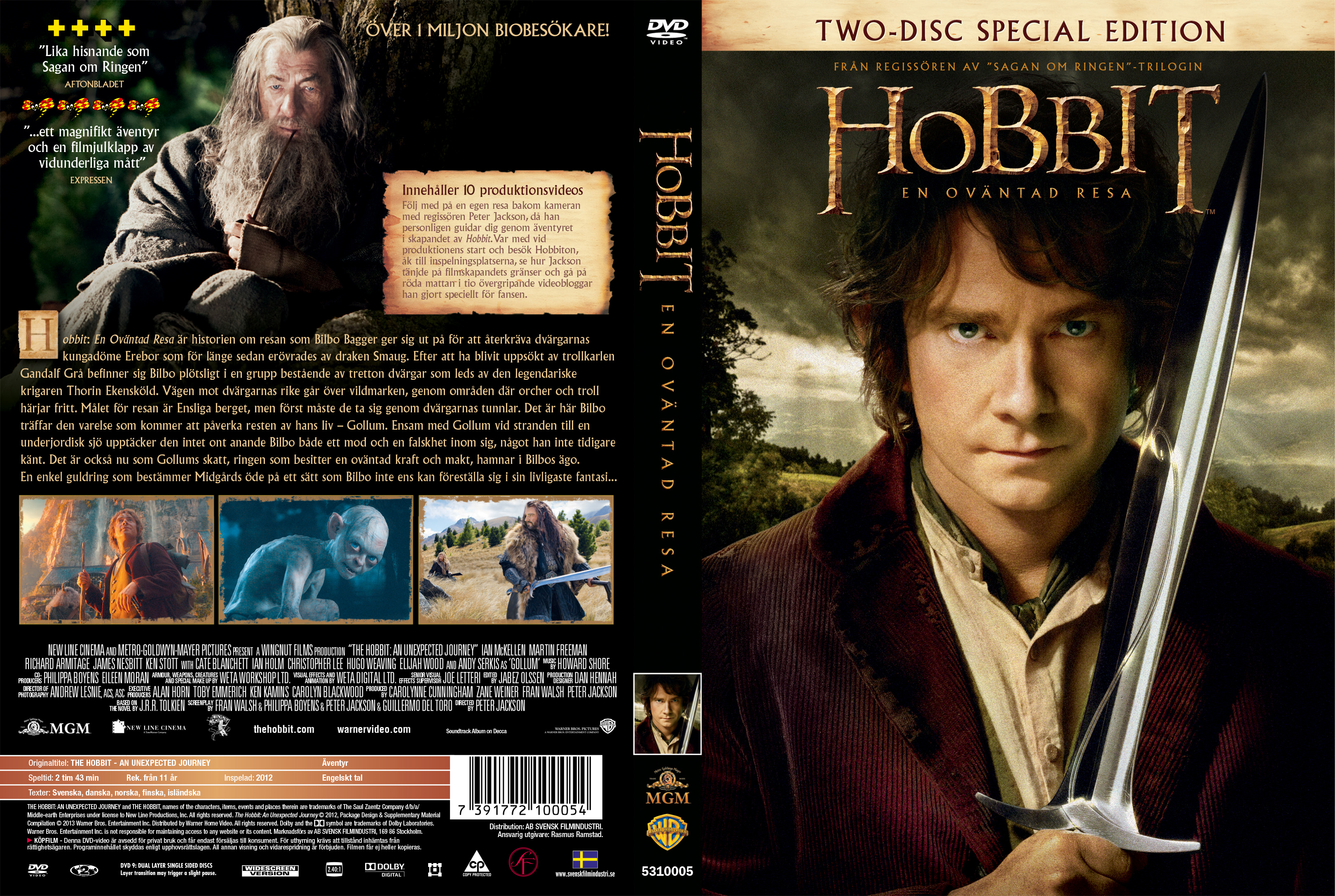 The Hobbit - An unexpected Journey - frontThe Hobbit An Unexpected Journey Dvd