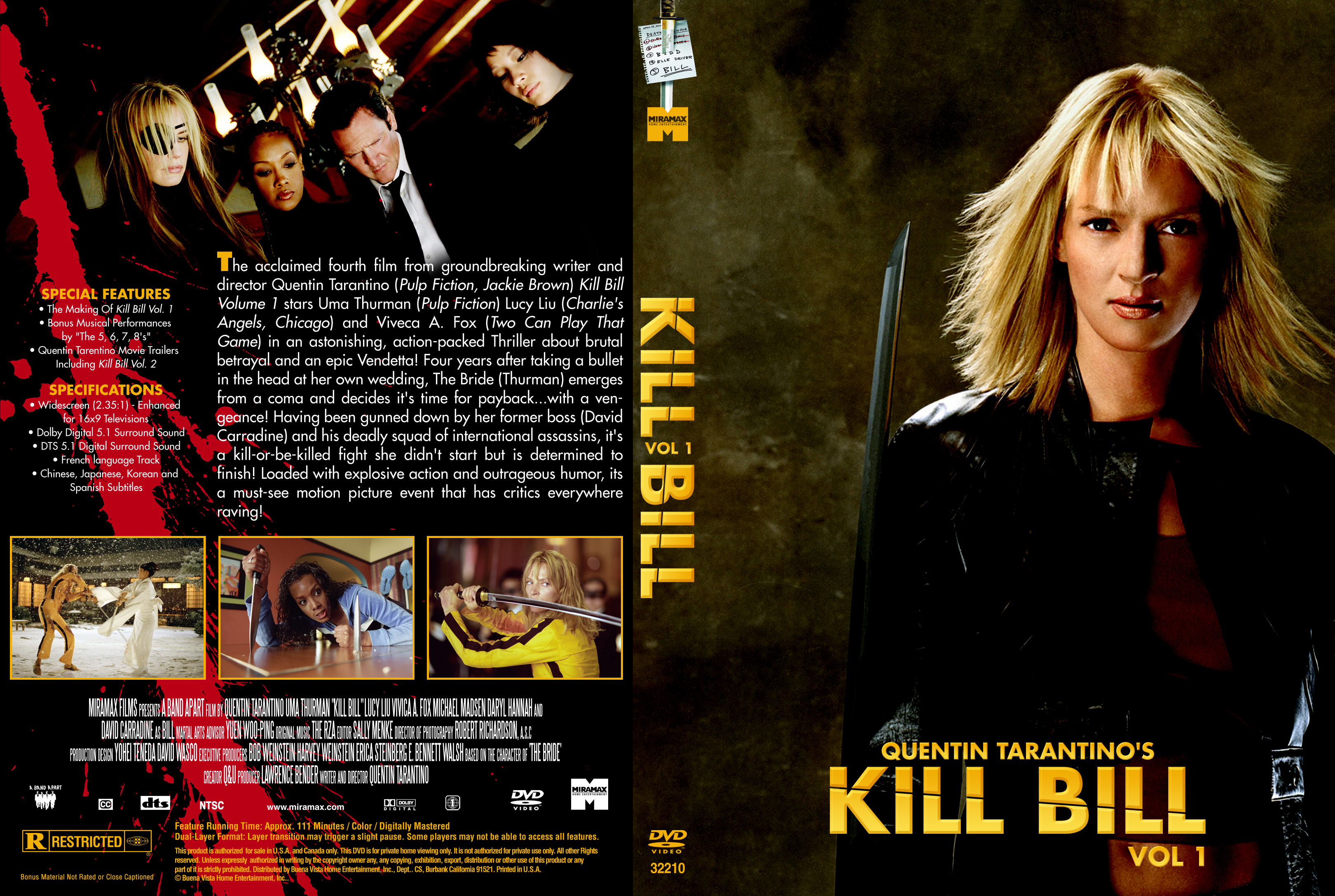 Covers Box Sk Kill Bill Vol 1 2003 High Quality Dvd Blueray Movie
