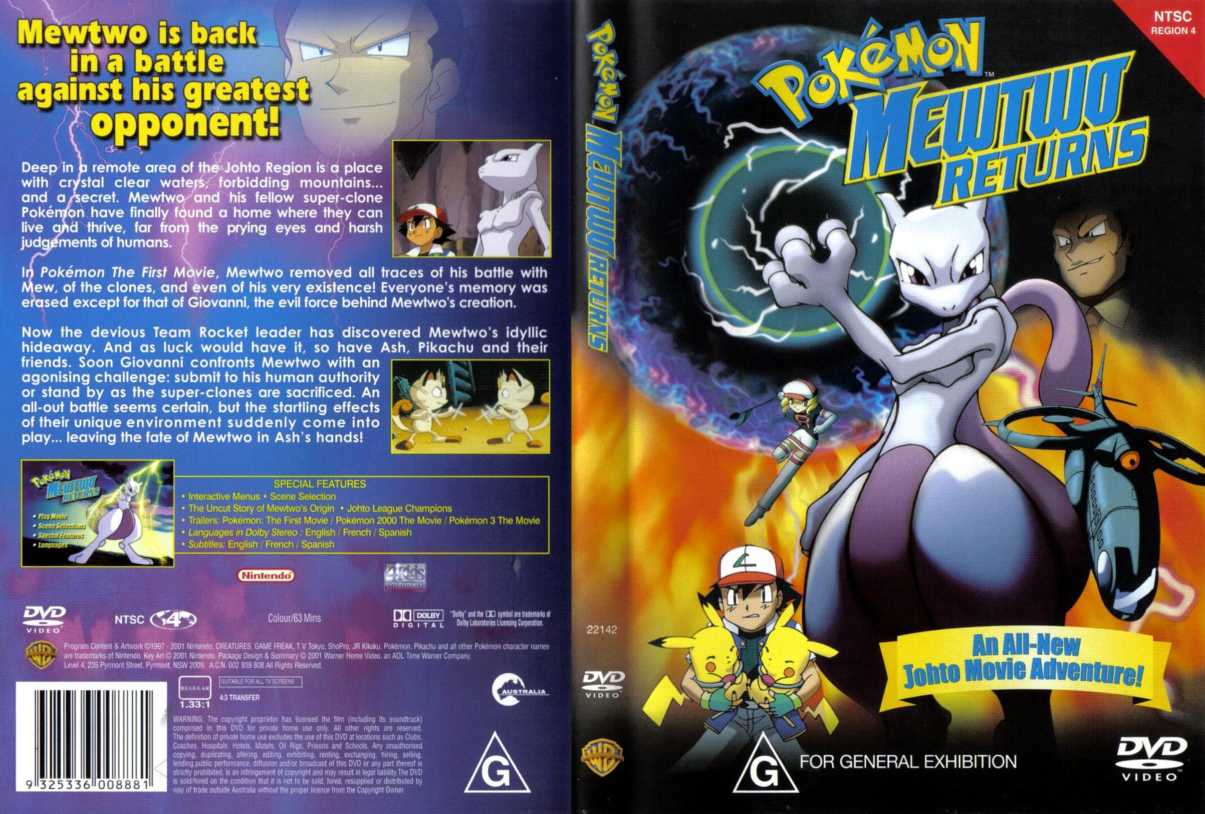 Covers Box Sk Pokemon Mewtwo Returns High Quality Dvd