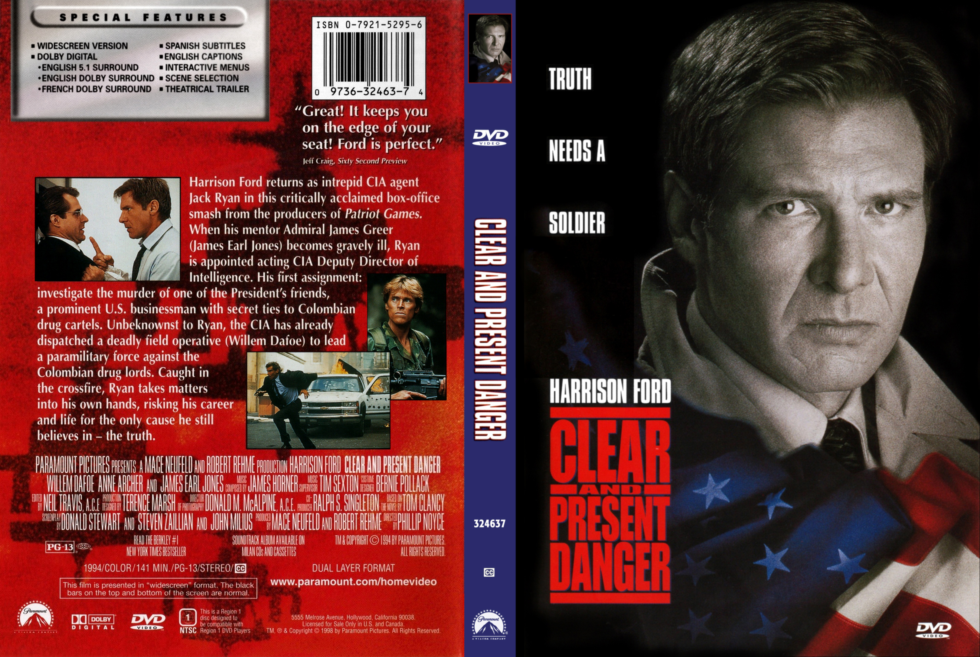 Covers Box Sk Clear And Present Danger 1994 High Quality Dvd Blueray Movie
