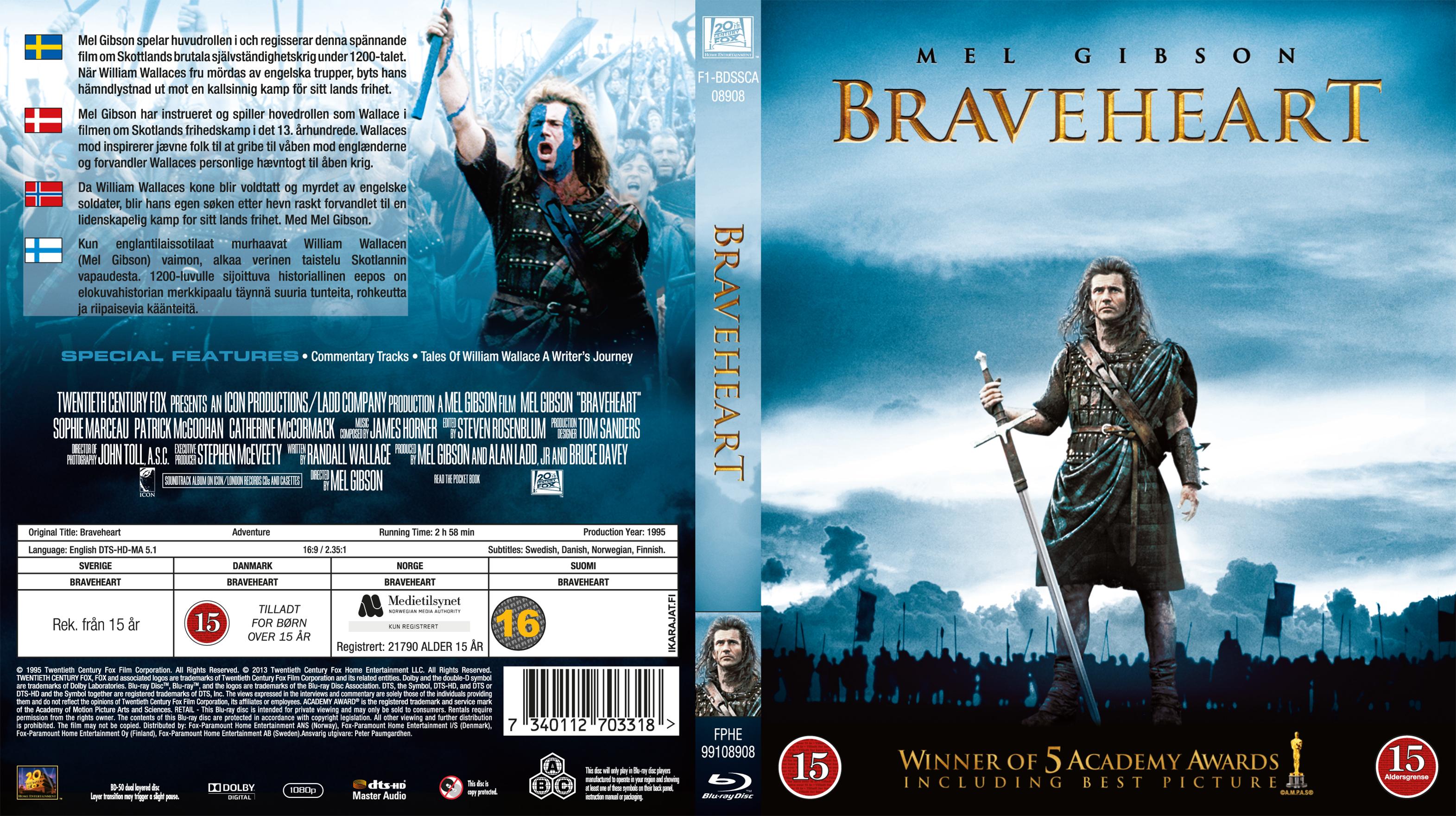 Covers Box Sk Braveheart 1995 Blu Ray Nordic High Quality Dvd Blueray Movie