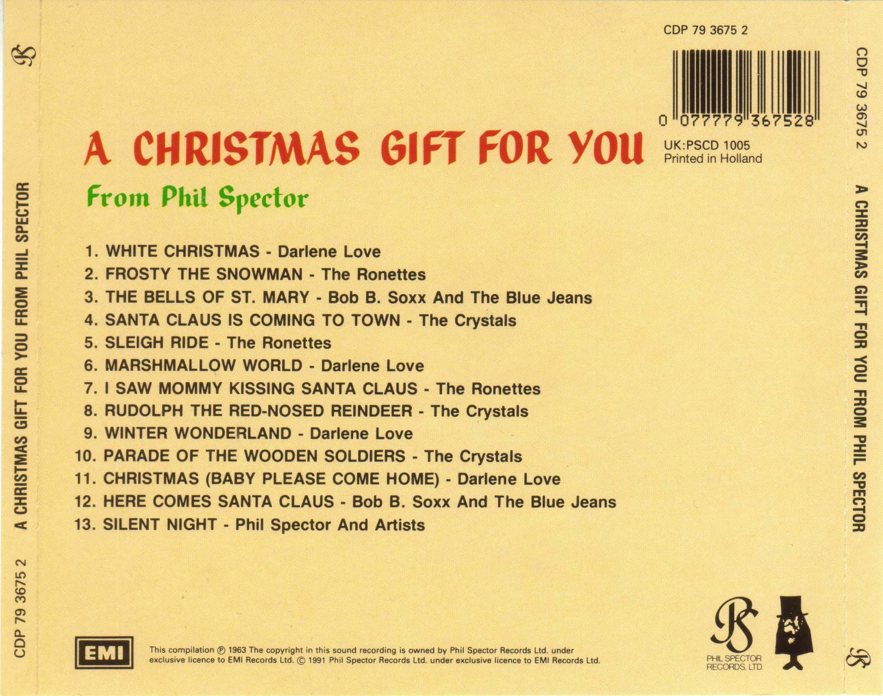 A Christmas Gift For You From Phil Spector.Covers Box Sk Phil Spector A Christmas Gift For You