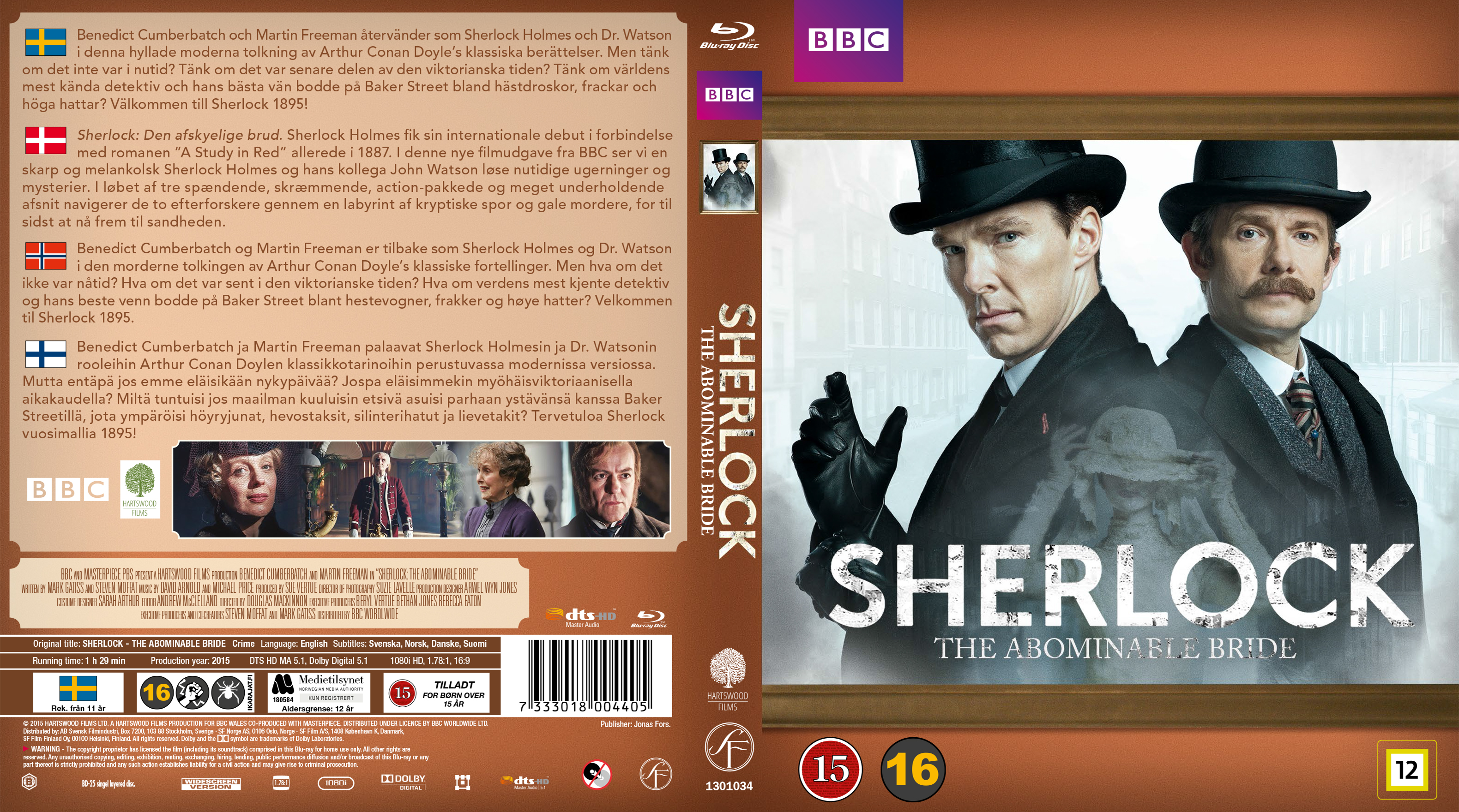 COVERS BOX SK ::: Sherlock - The Abominable Bride - Blu-Ray - Nordic