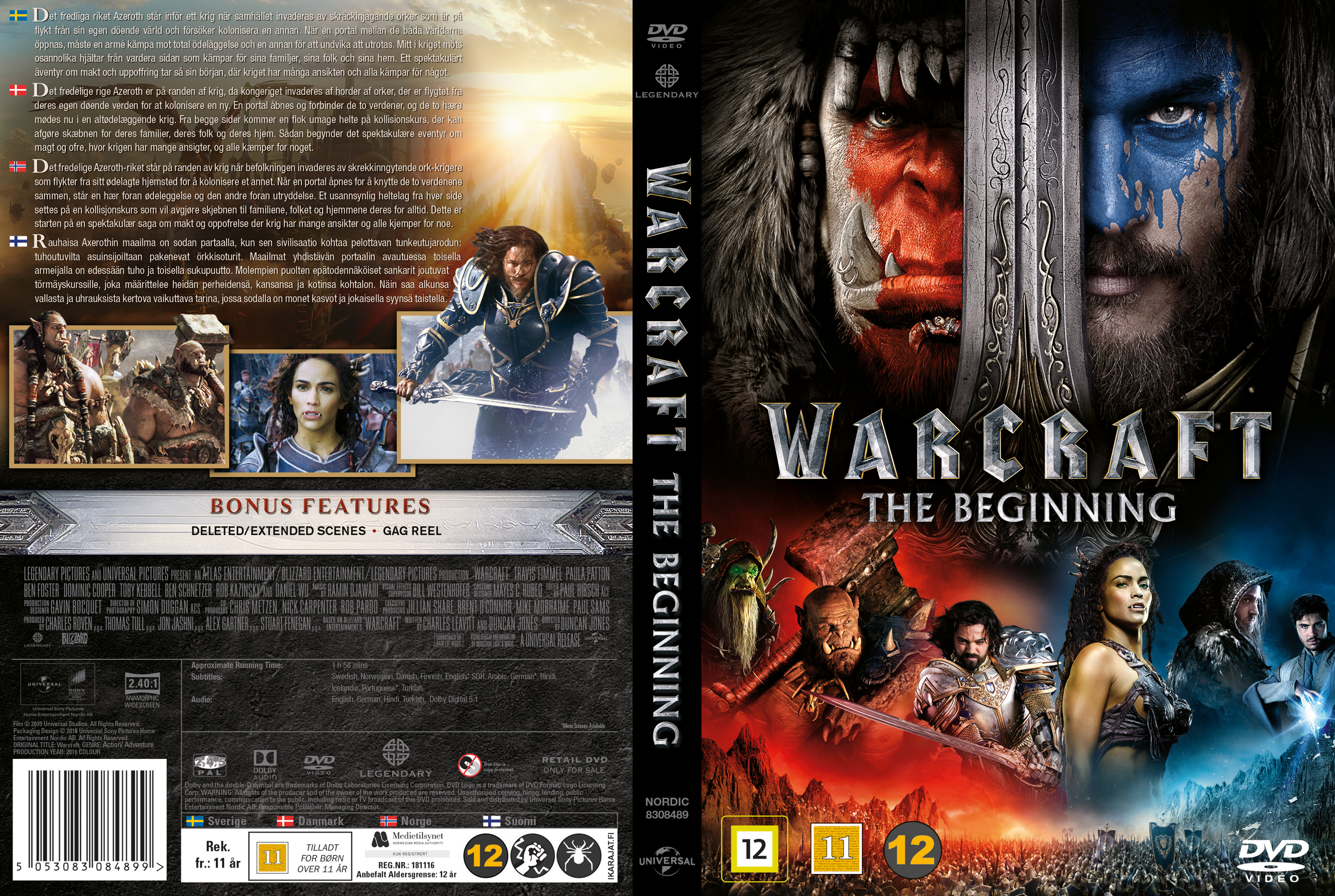Covers Box Sk Warcraft The Beginning Nordic 2016 High Quality Dvd Blueray Movie