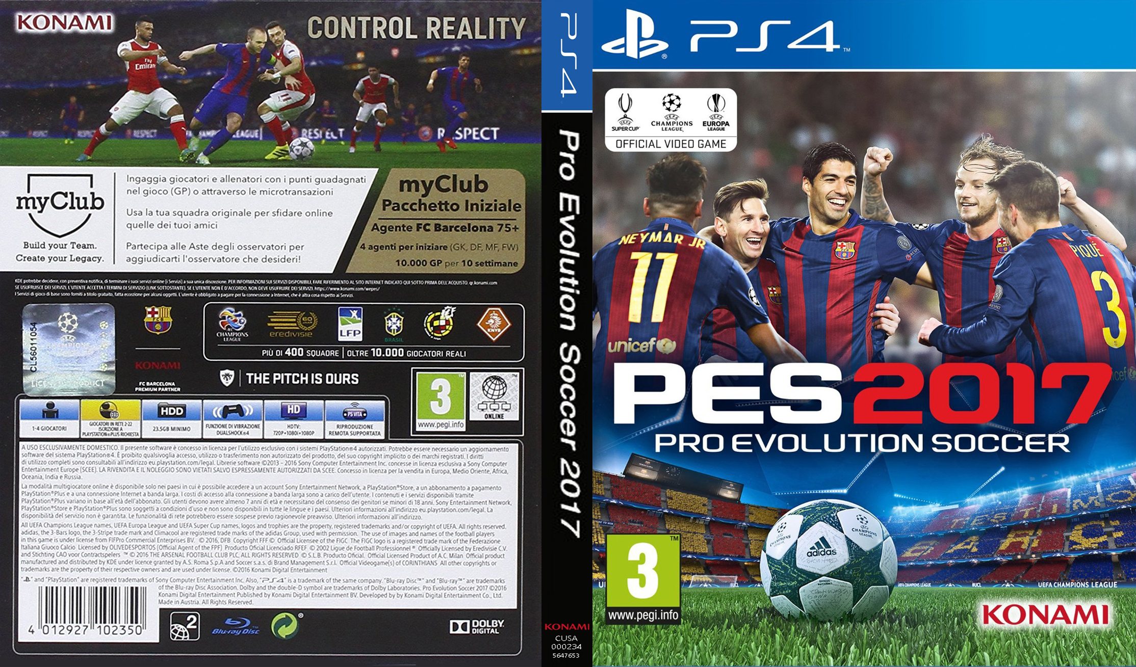 COVERS.BOX.SK ::: PES 2017 - PS4 - high quality DVD ...