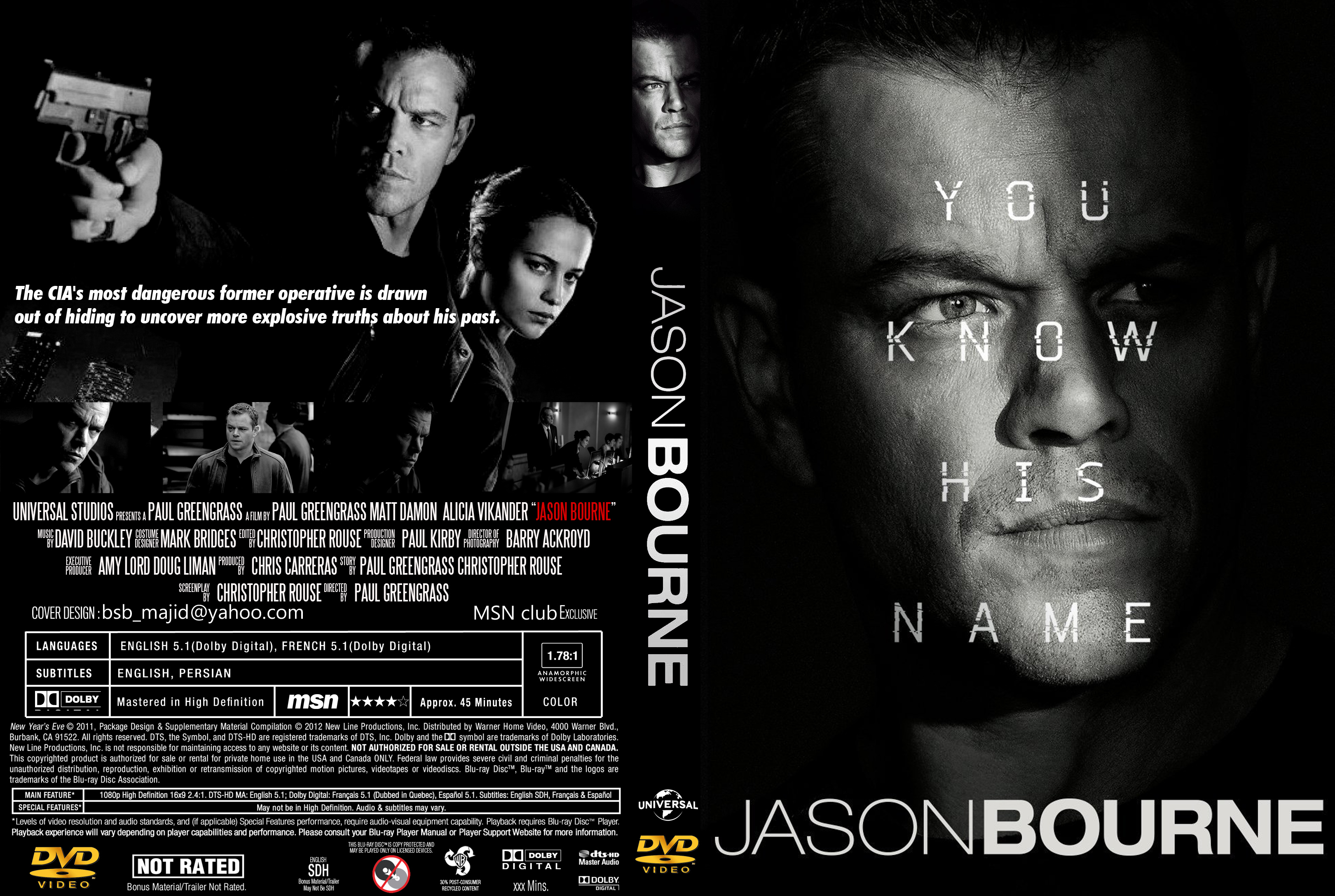 Covers Box Sk Jason Bourne 2016 High Quality Dvd Blueray Movie
