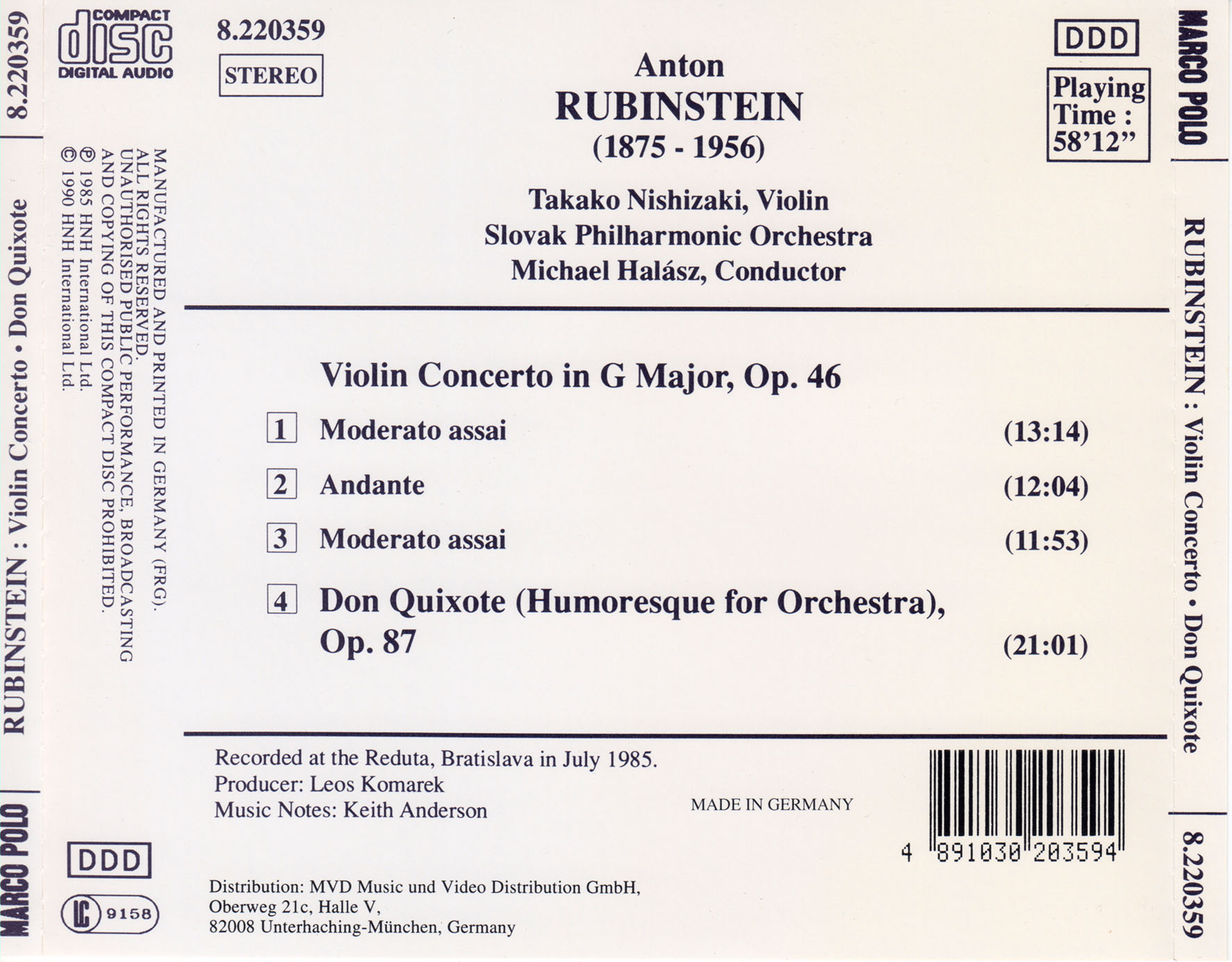 COVERS BOX SK ::: Anton Rubinstein - Violin Concerto in G