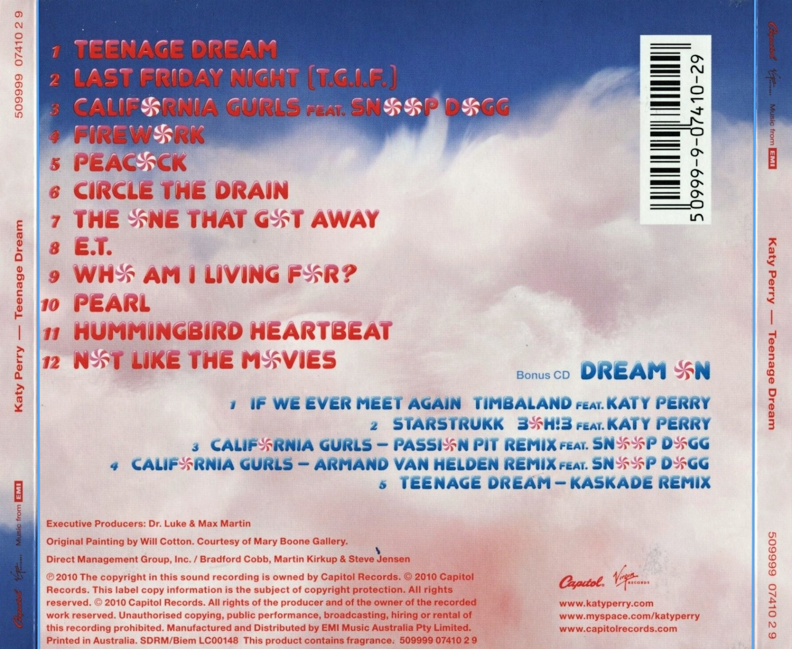 Image result for teenage dream back cover