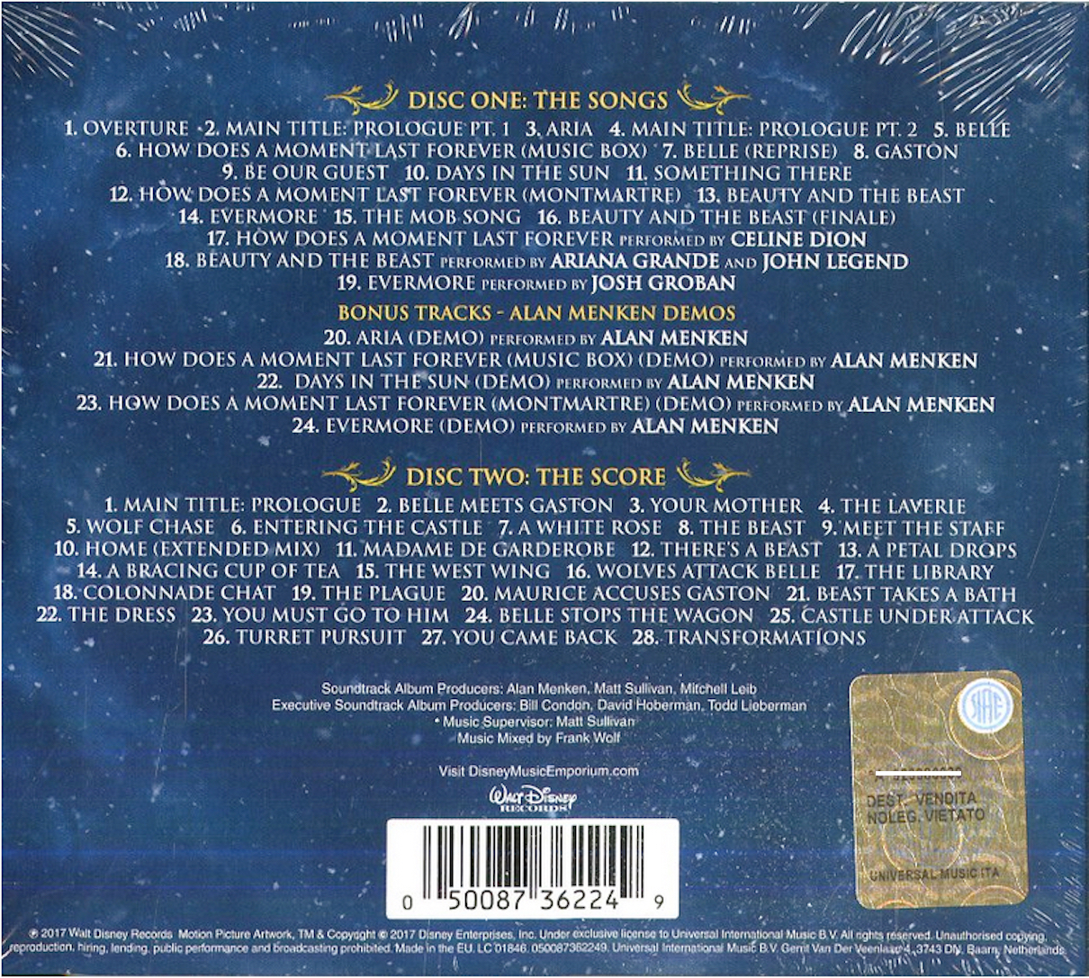 Beauty And The Beast Original Motion Picture Soundtrack: COVERS.BOX.SK ::: Alan Menken, Howard Ashman And Tim Rice