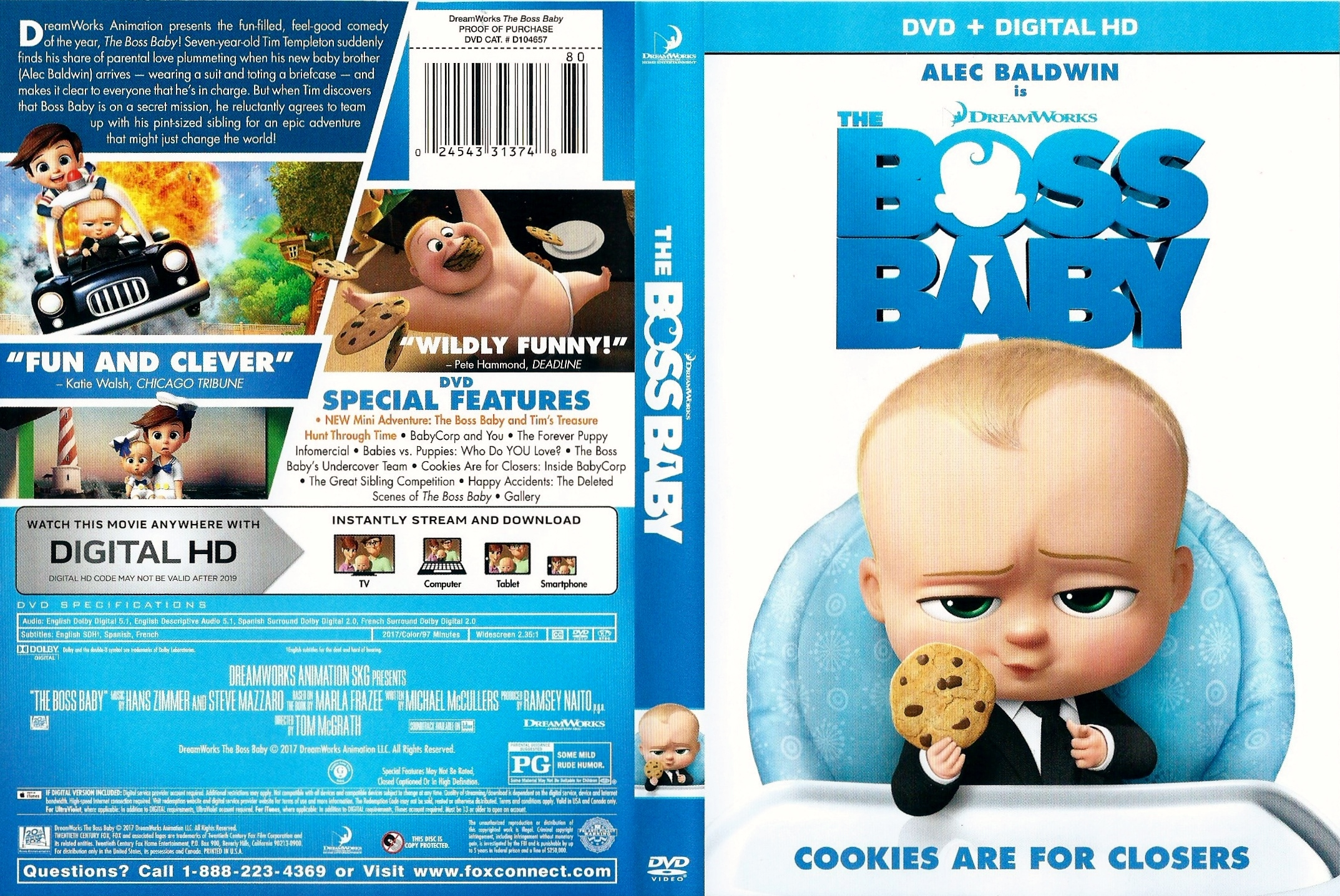 Covers Box Sk The Boss Baby 2017 High Quality Dvd