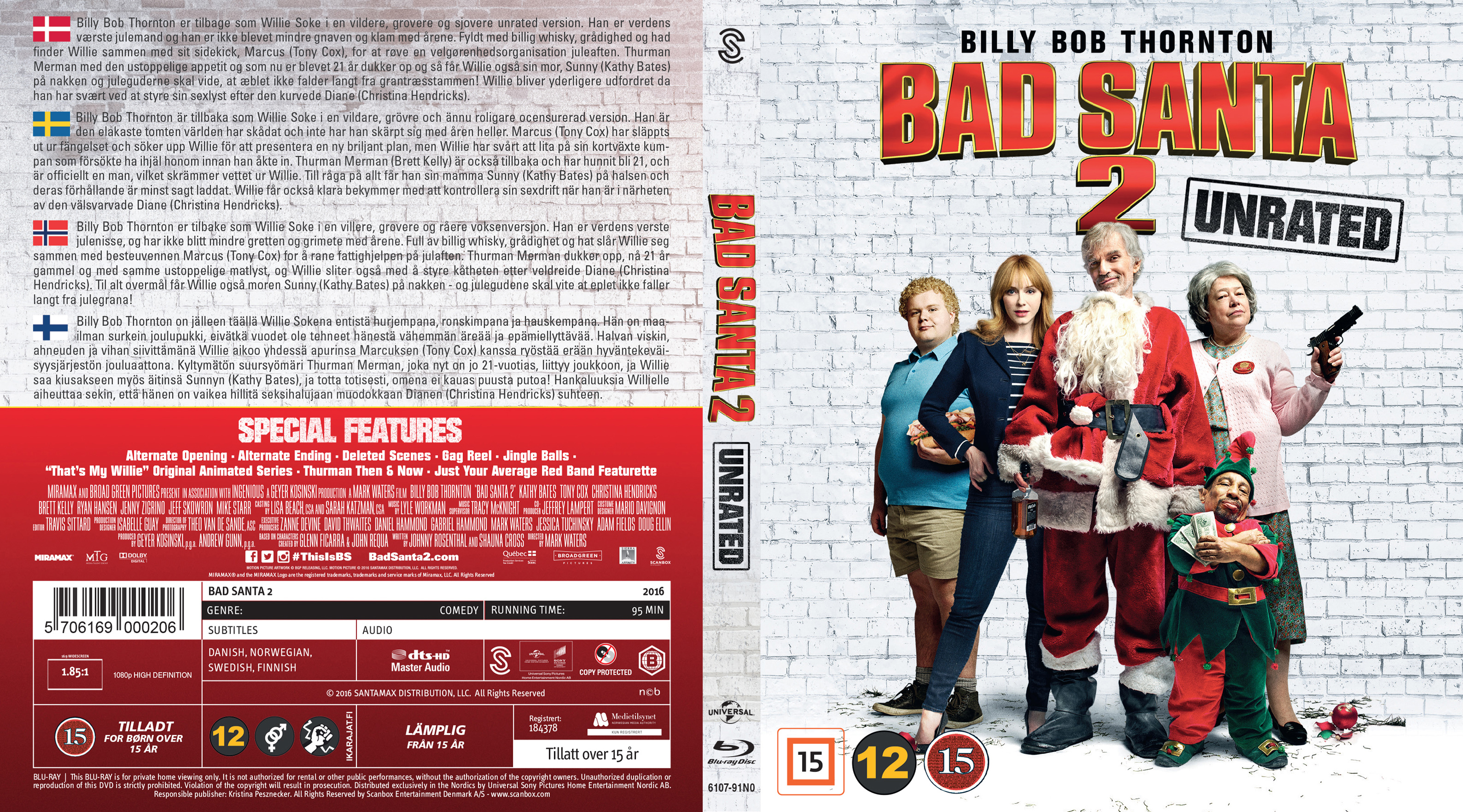 Covers Box Sk Bad Santa 2 Nordic Blu Ray 2016 High Quality Dvd Blueray Movie