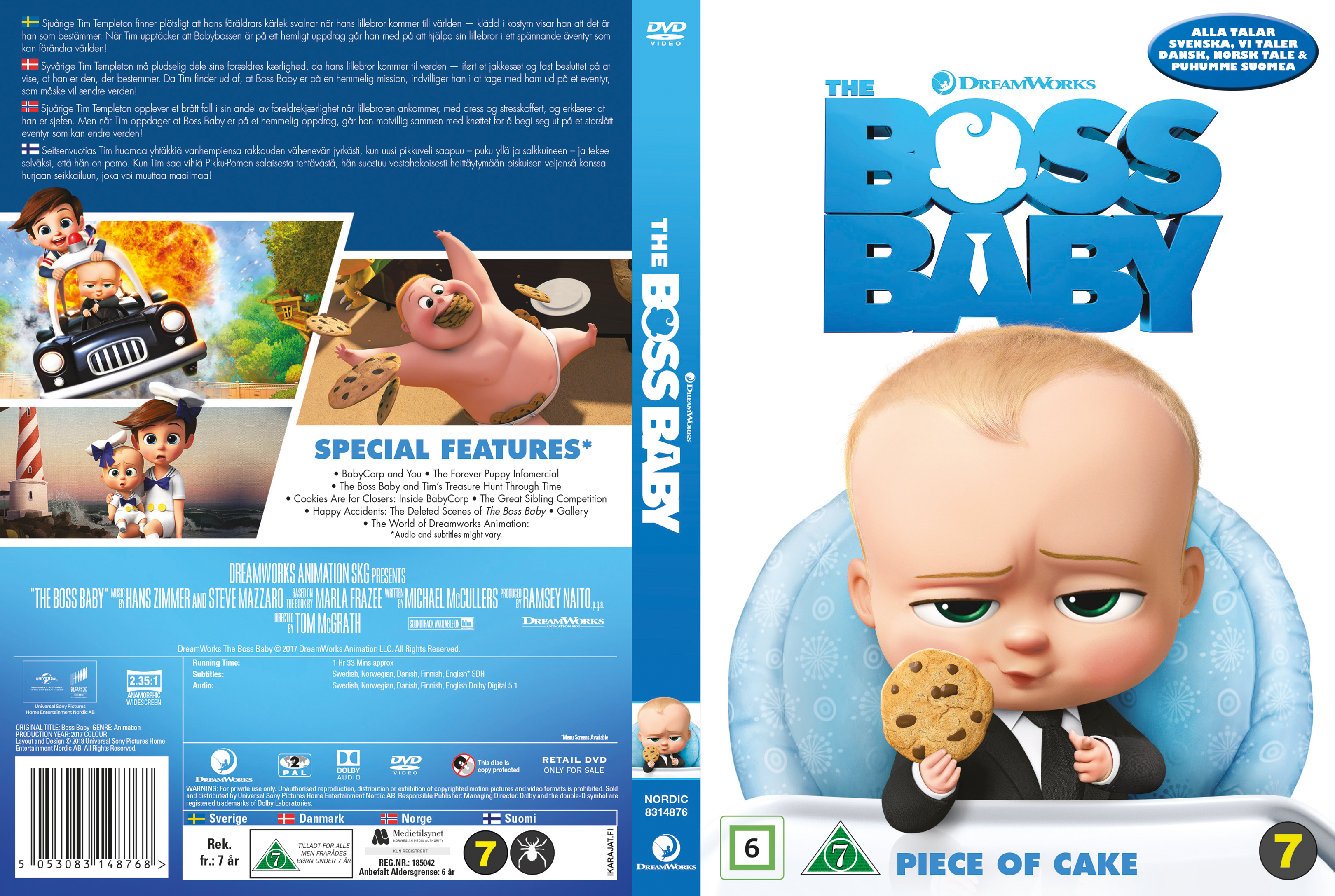 Covers Box Sk The Boss Baby Nordic 2017 High Quality Dvd Blueray Movie