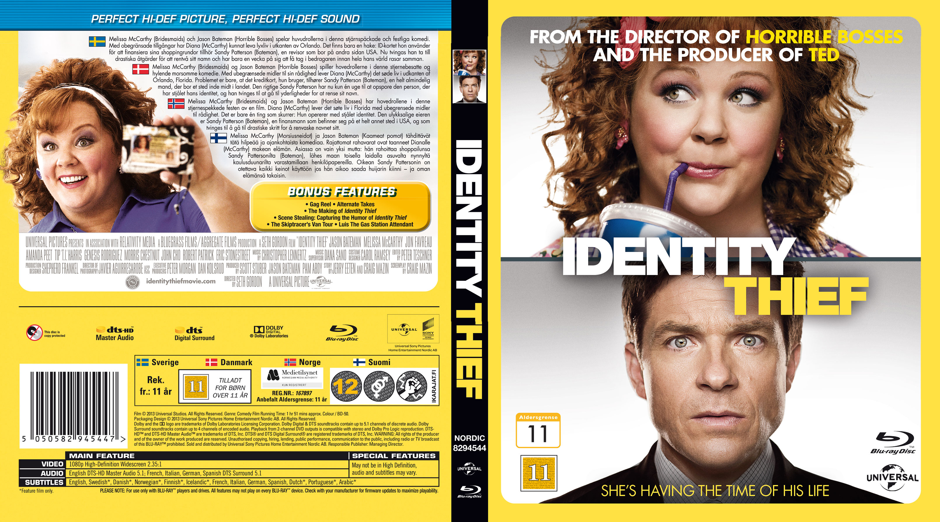 Covers Box Sk Identity Thief Nordic Blu Ray 2013 High Quality Dvd Blueray Movie