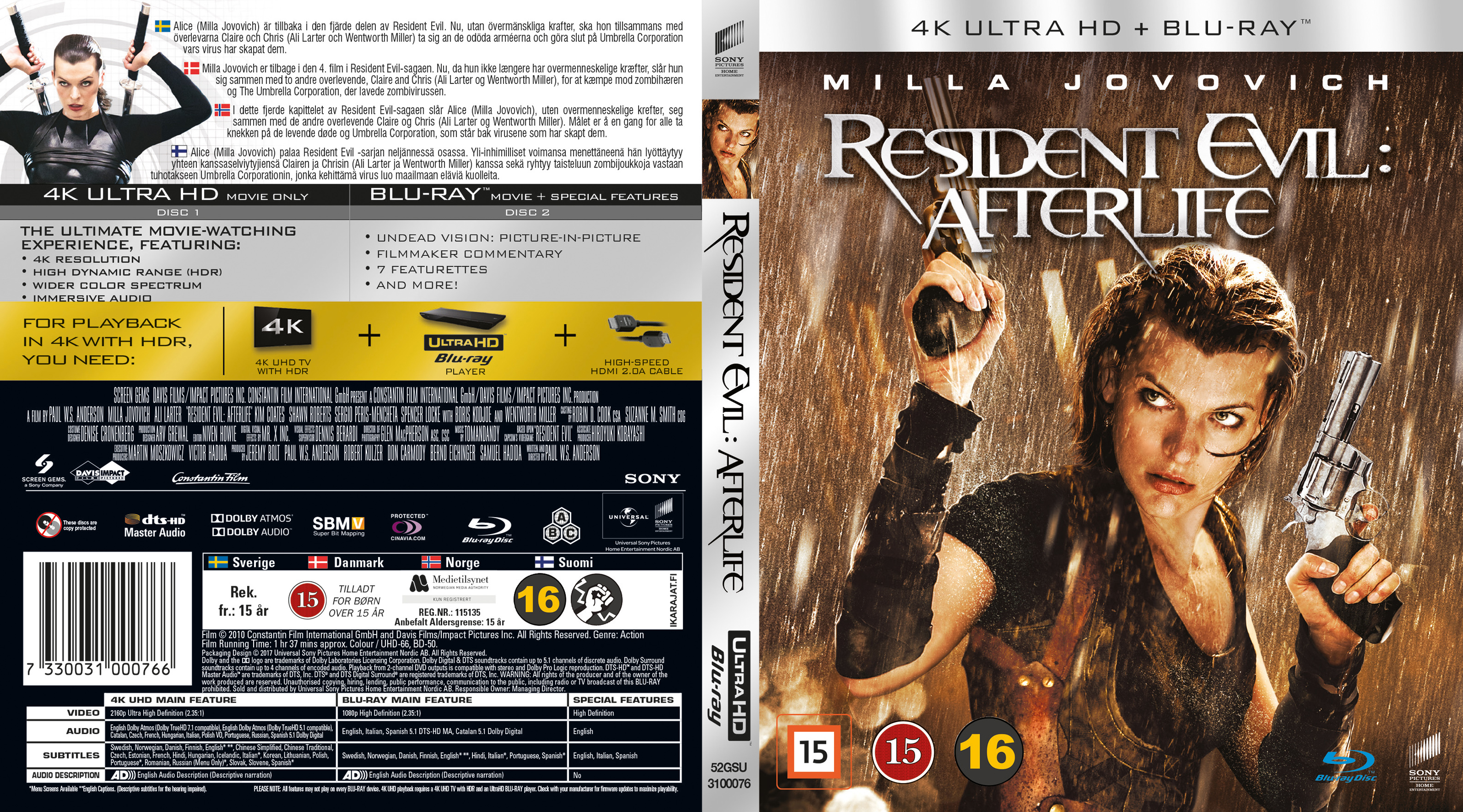 Covers Box Sk Resident Evil Afterlife Nordic Blu Ray 4k 2010 High Quality Dvd Blueray Movie