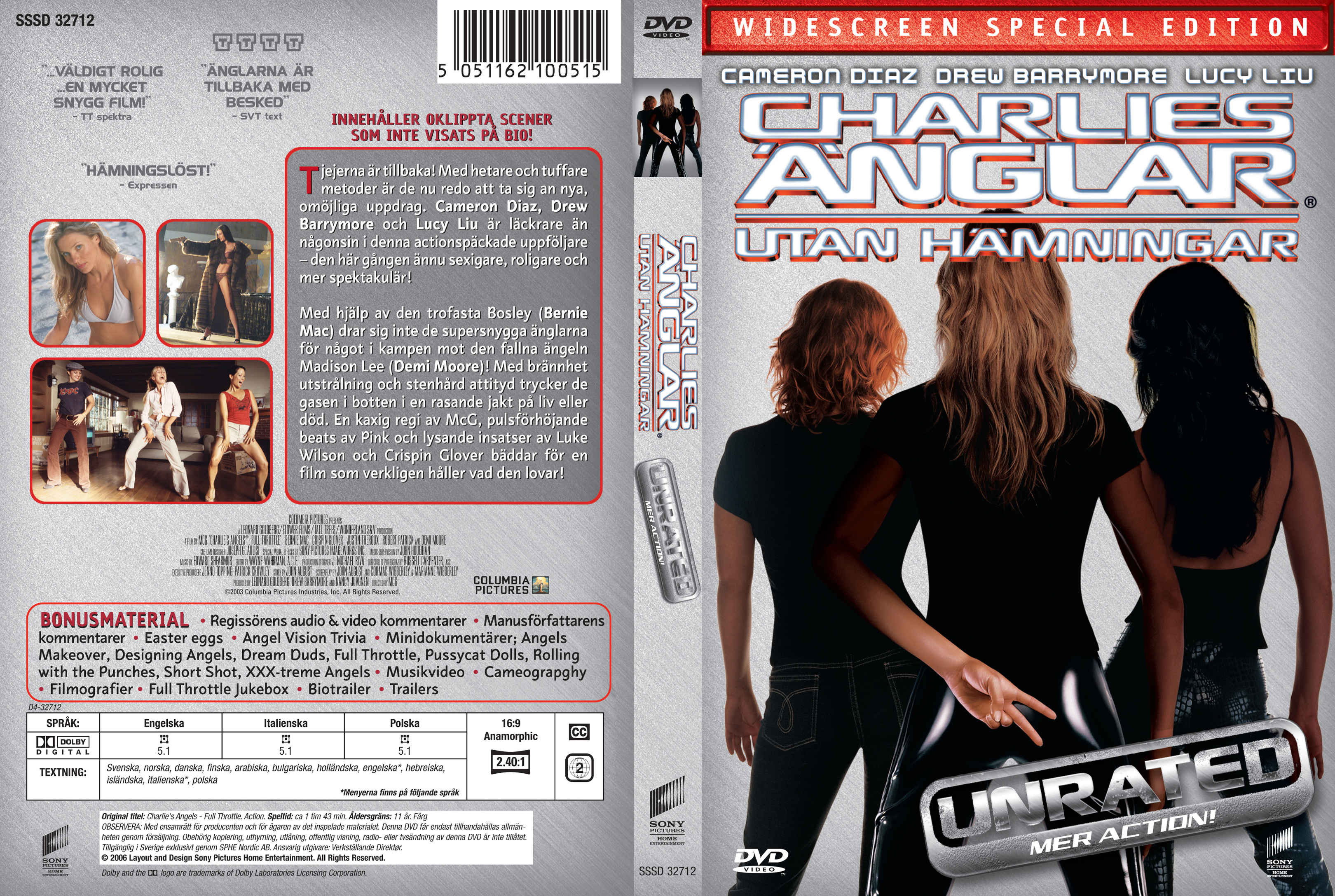 Covers Box Sk Charlie S Angels Full Throttle 2003 High Quality Dvd Blueray Movie