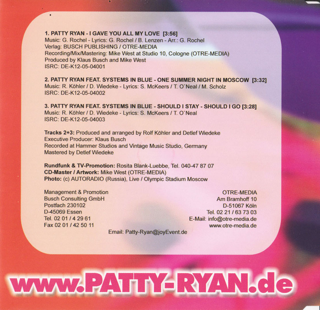 COVERS BOX SK ::: Patty Ryan - I Gave You All My Love (2005) - high