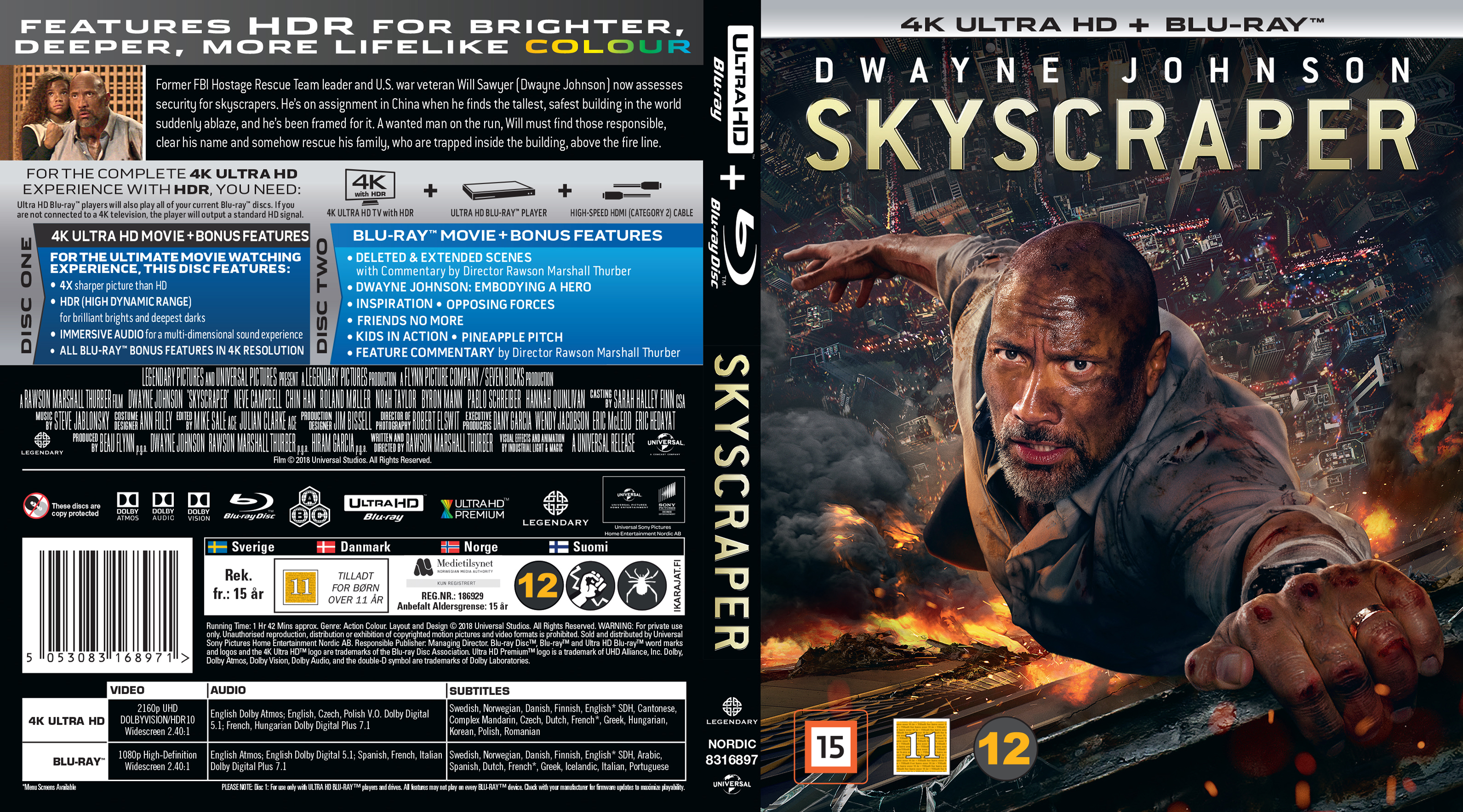 COVERS BOX SK ::: Skyscraper - Nordic - Blu-Ray - 4K (2018