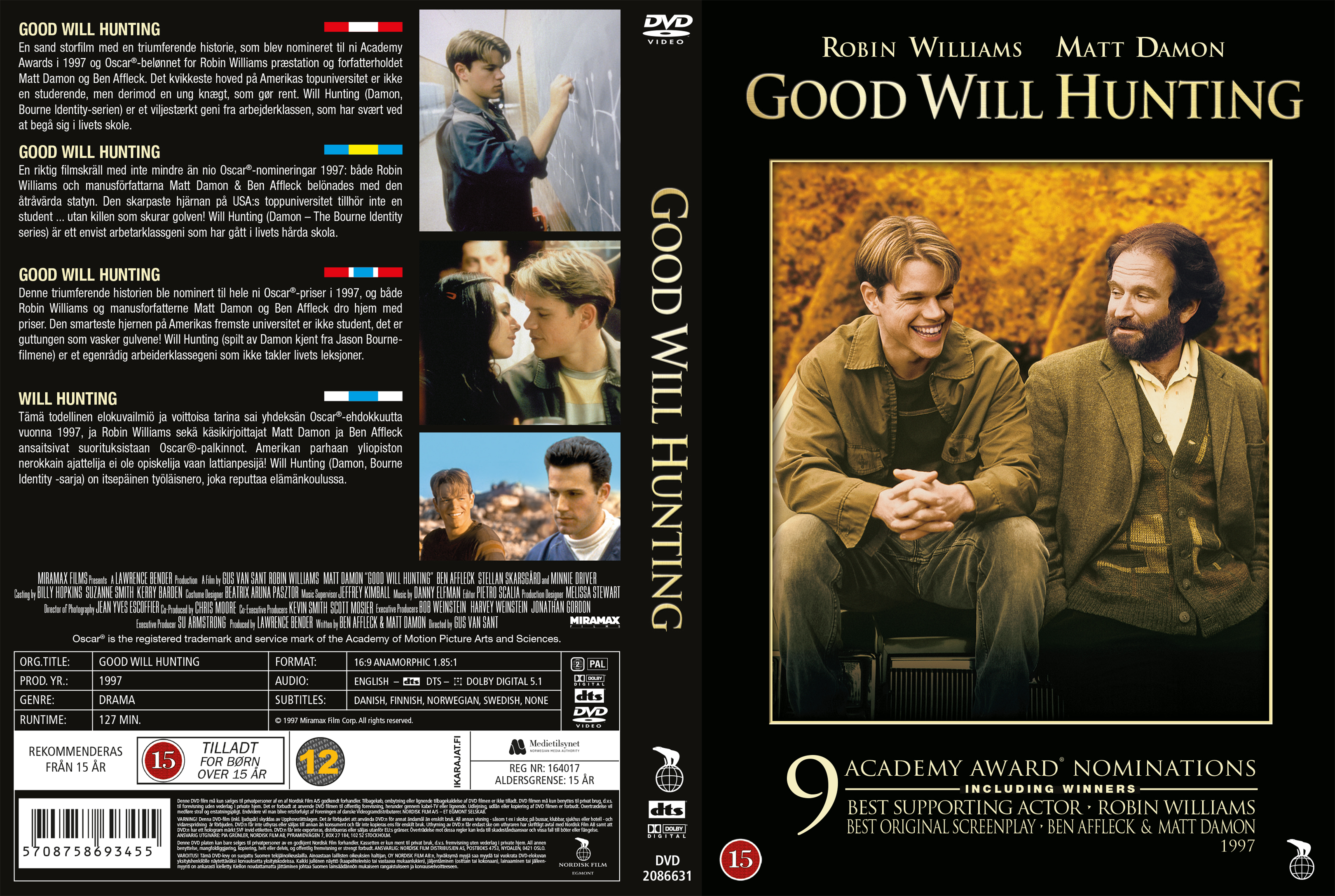 Covers Box Sk Good Will Hunting Nordic 1997 High Quality Dvd Blueray Movie