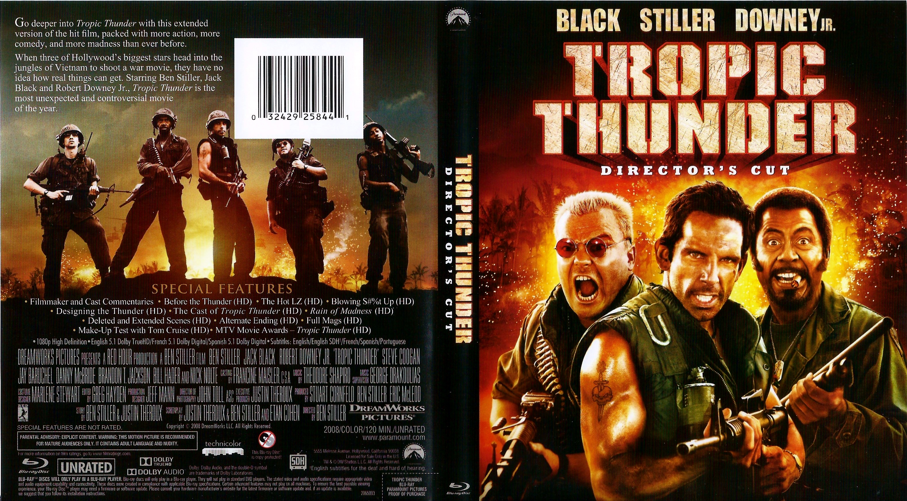 Covers Box Sk Tropic Thunder Director S Cut 2008 High Quality Dvd Blueray Movie