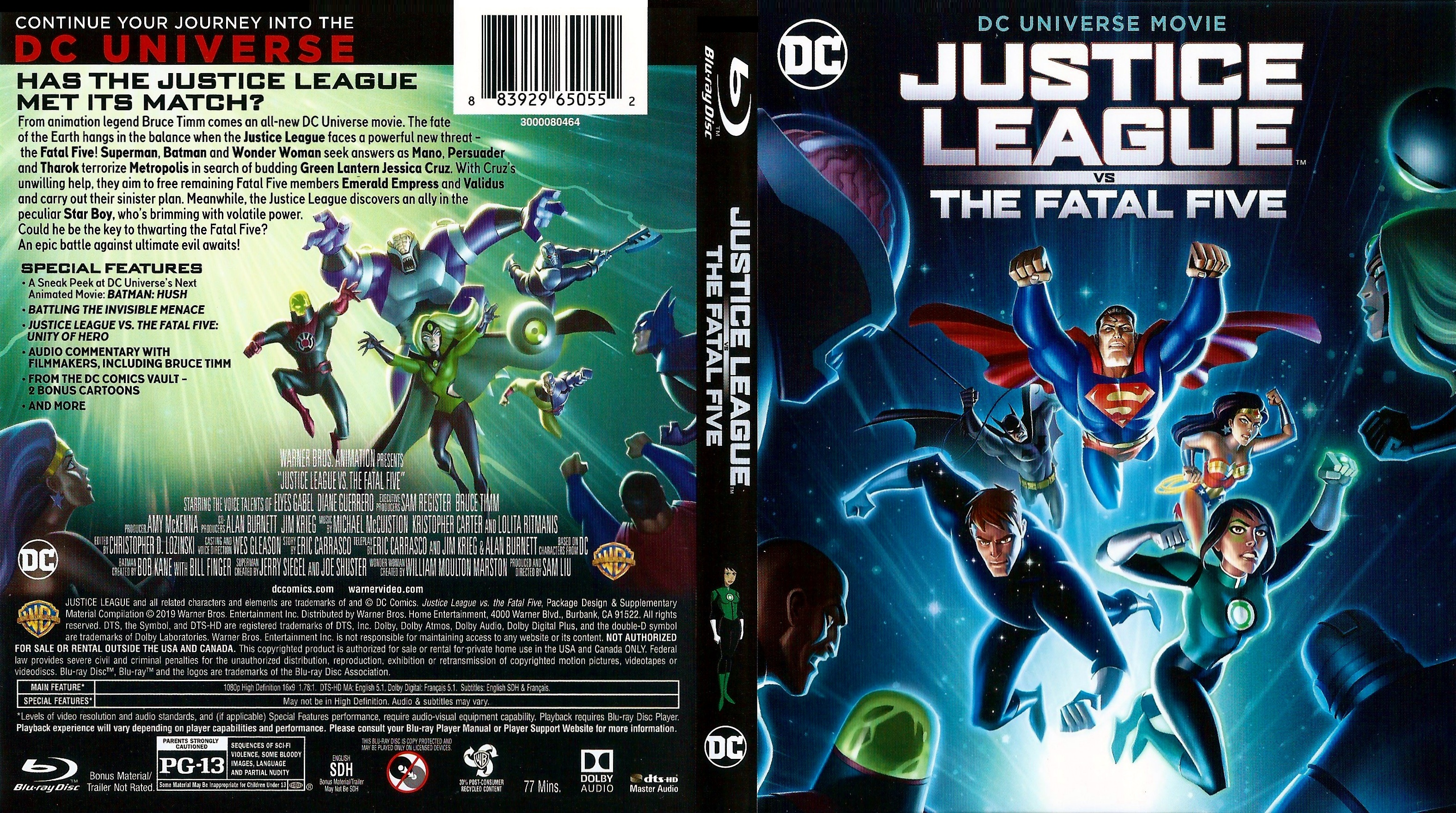 Covers Box Sk Justice League Vs The Fatal Five 2019 High Quality Dvd Blueray Movie