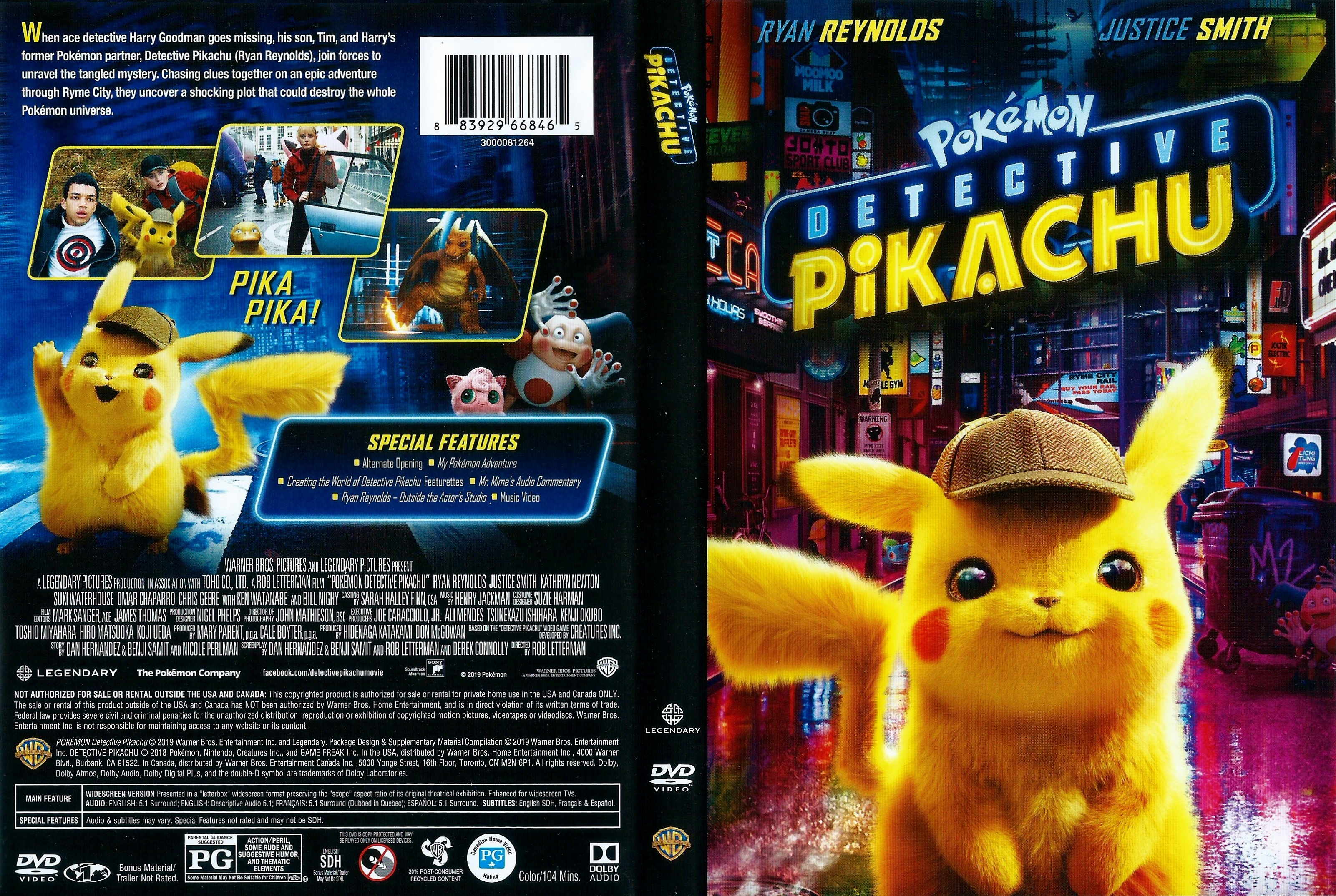 Covers Box Sk Pokemon Detective Pikachu 2019 High Quality Dvd Blueray Movie